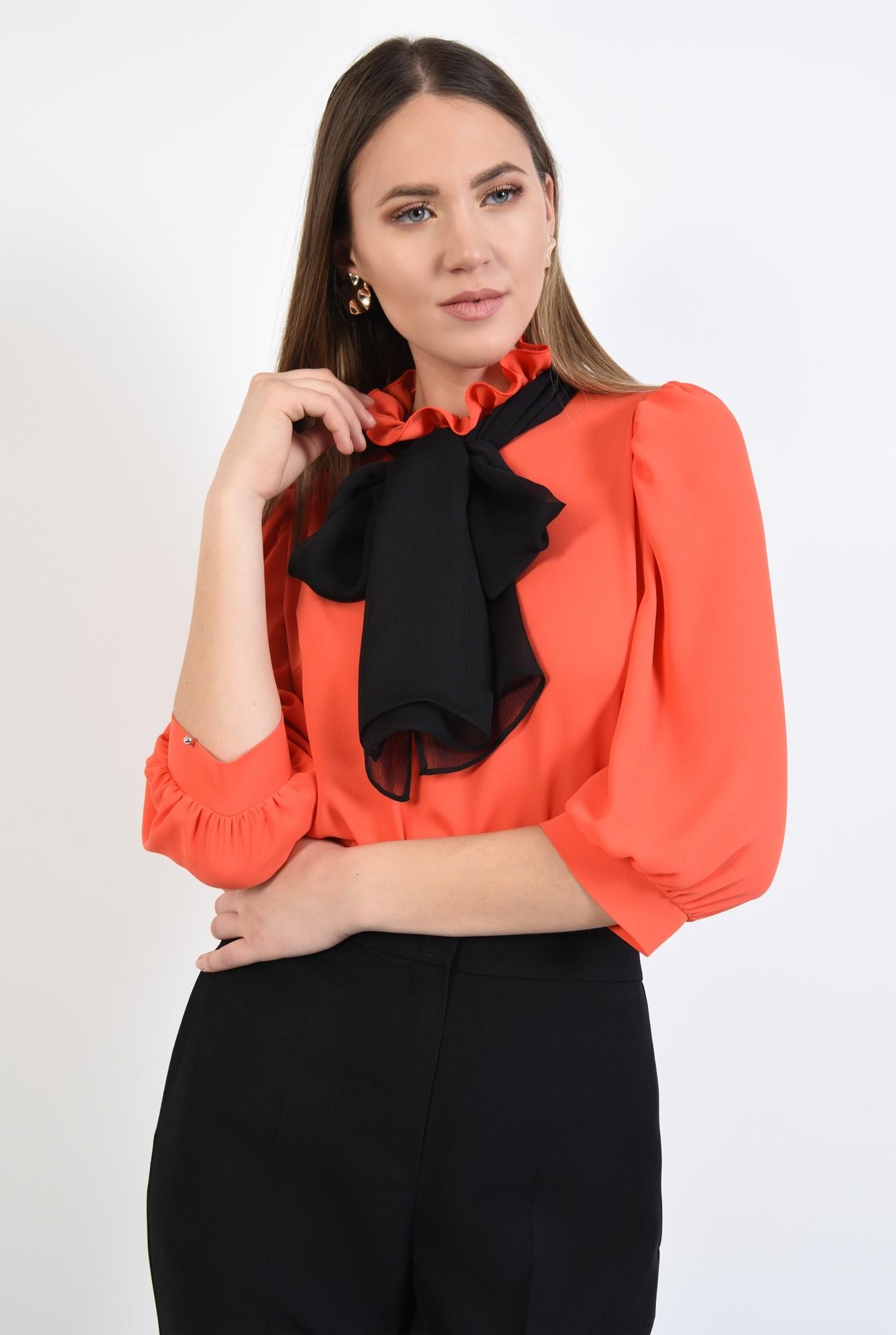 2 - 360 - bluza eleganta, maneci 3/4 cu mansete, funda neagra, bluza din sifon