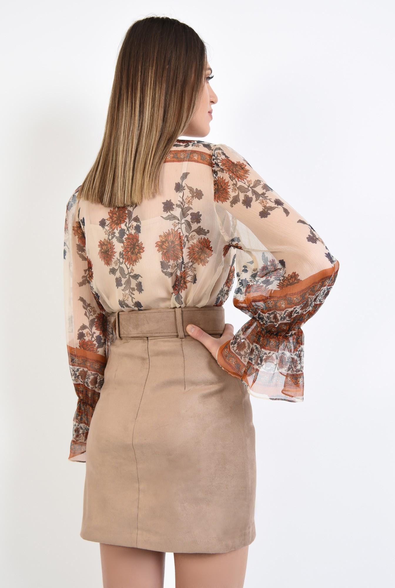 1 - 360 - bluza eleganta, din matase imprimata, maneci lungi