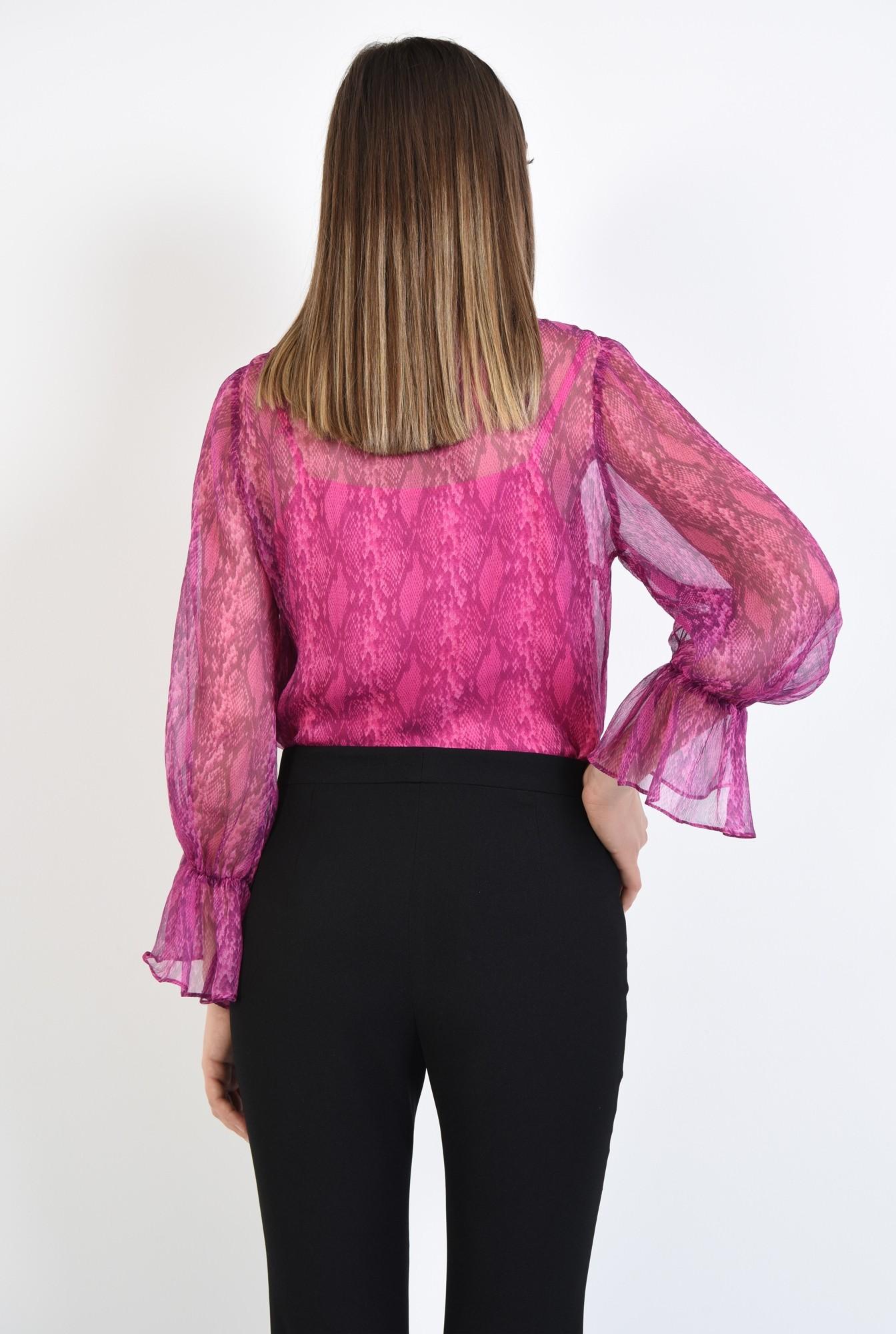 1 - 360 - bluza fucsia, transparenta, cu imprimeu sarpe