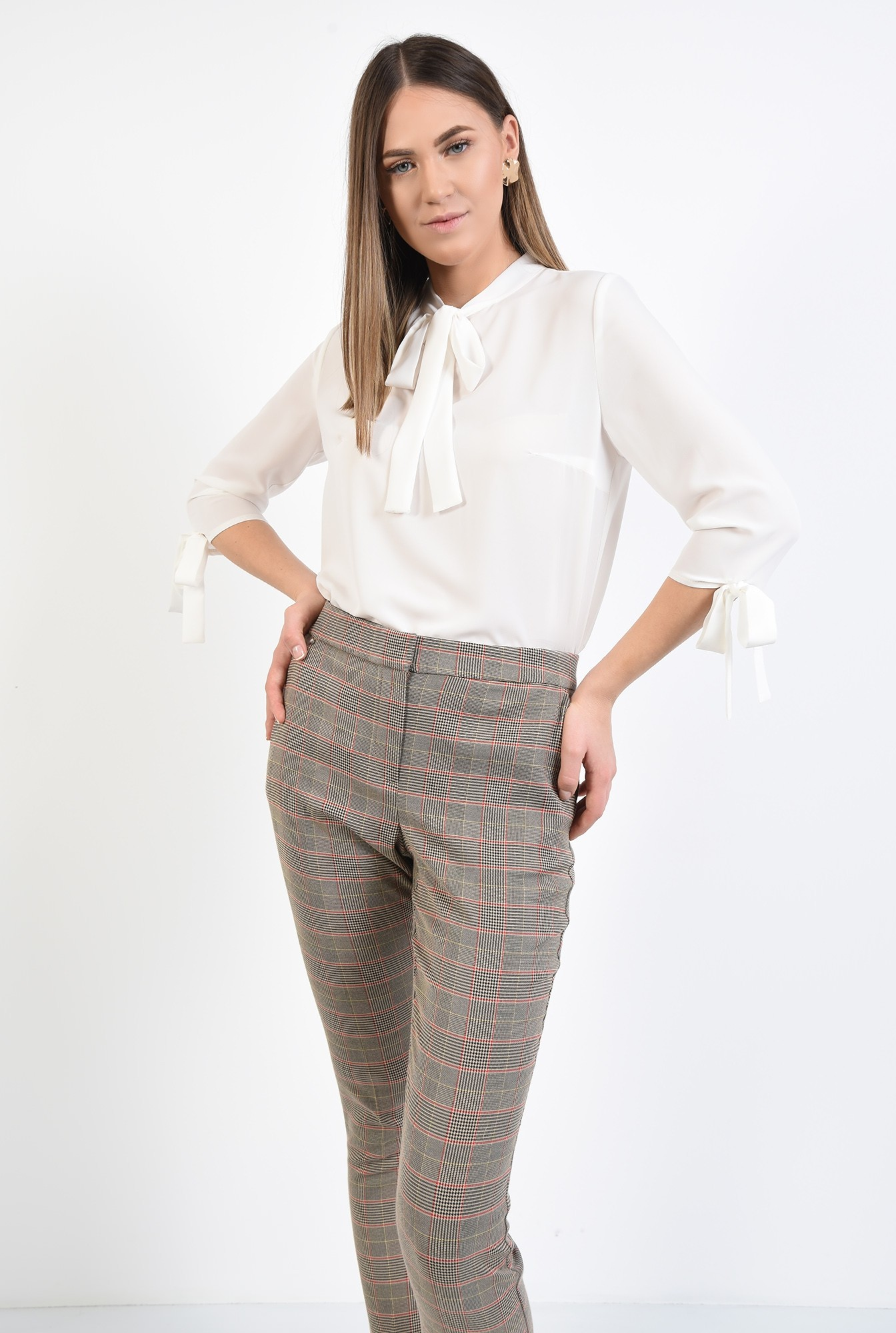 0 - 360 - pantaloni de costum, in carouri, conici, buzunare in cusatura