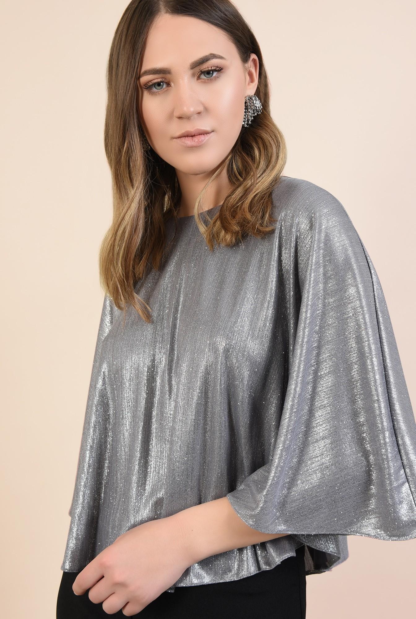 2 - bluza eleganta, tip capa, argintie, cu sclipici, maneci fluture