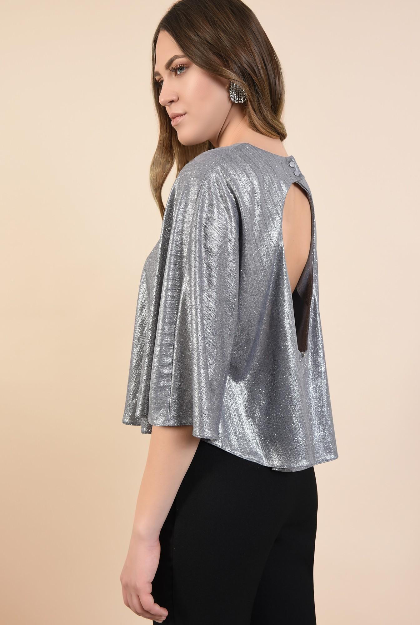 1 - bluza eleganta, tip capa, argintie, cu sclipici, maneci fluture