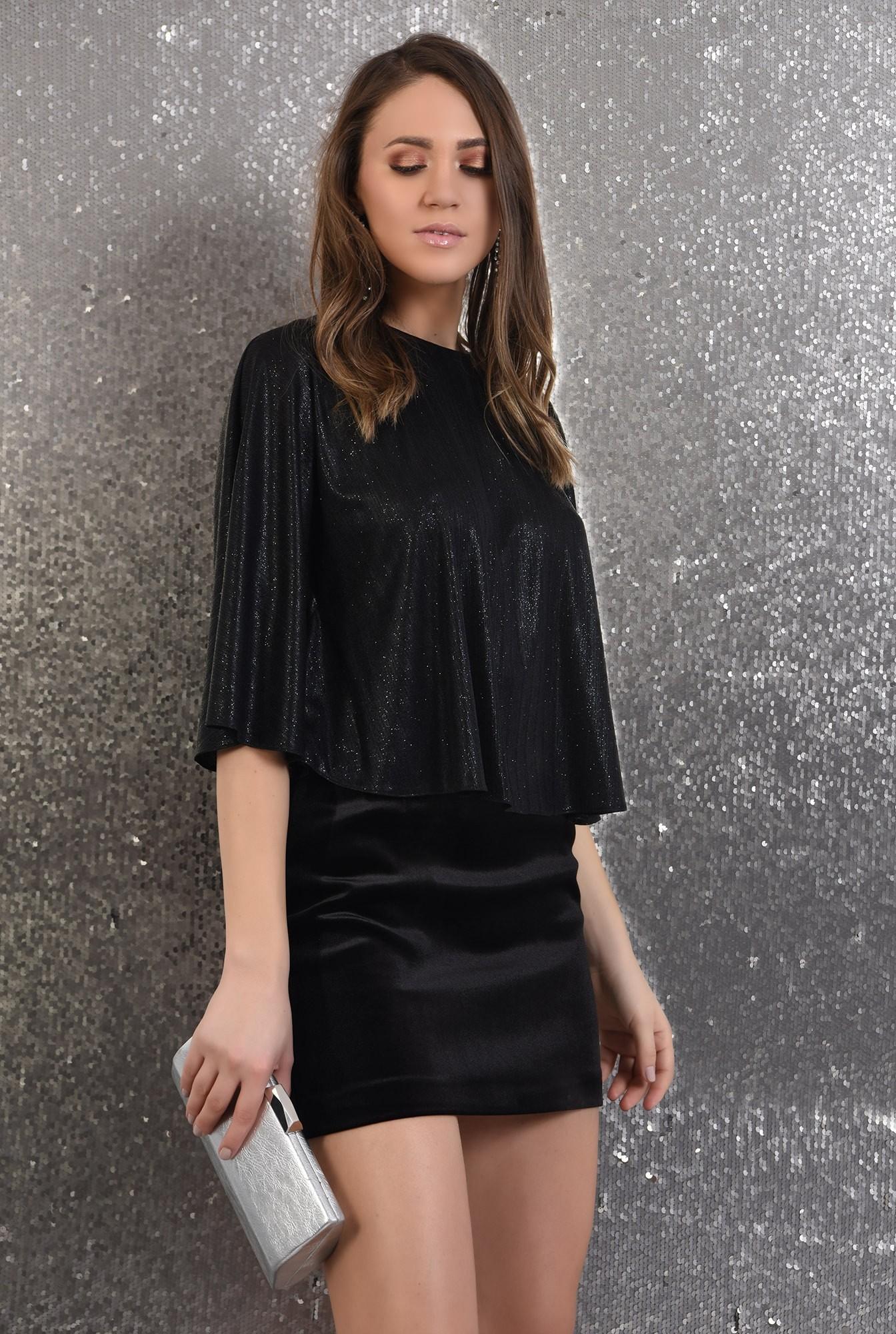 2 -  bluza cu sclipici, eleganta, de seara, neagra, croi evazat larg
