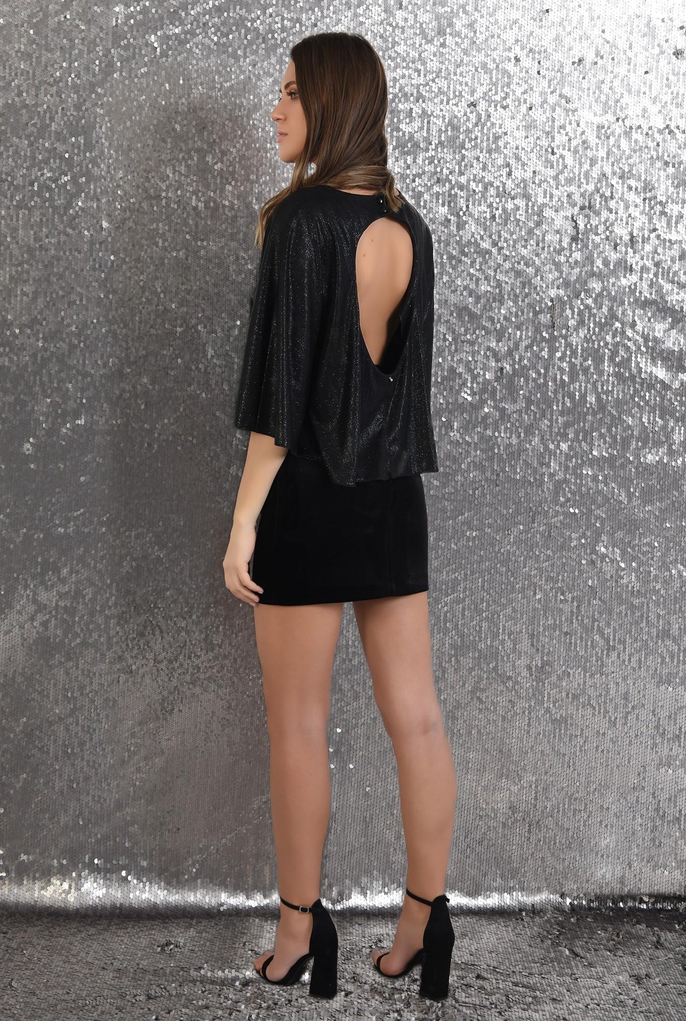 1 -  bluza cu sclipici, eleganta, de seara, neagra, croi evazat larg