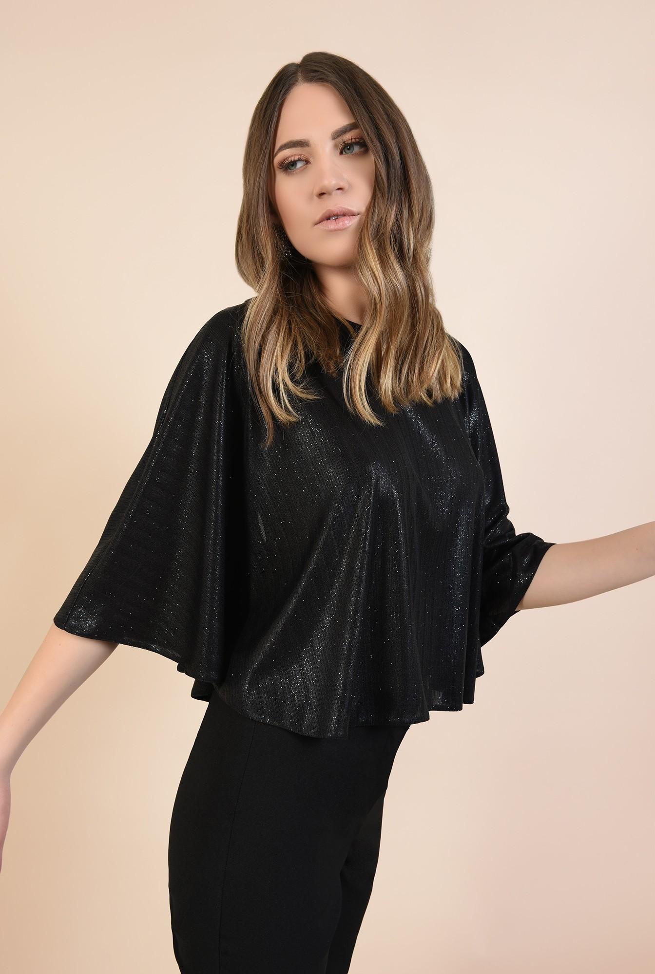 0 - bluza eleganta, tip capa, neagra, cu sclipici, maneci fluture, Poema