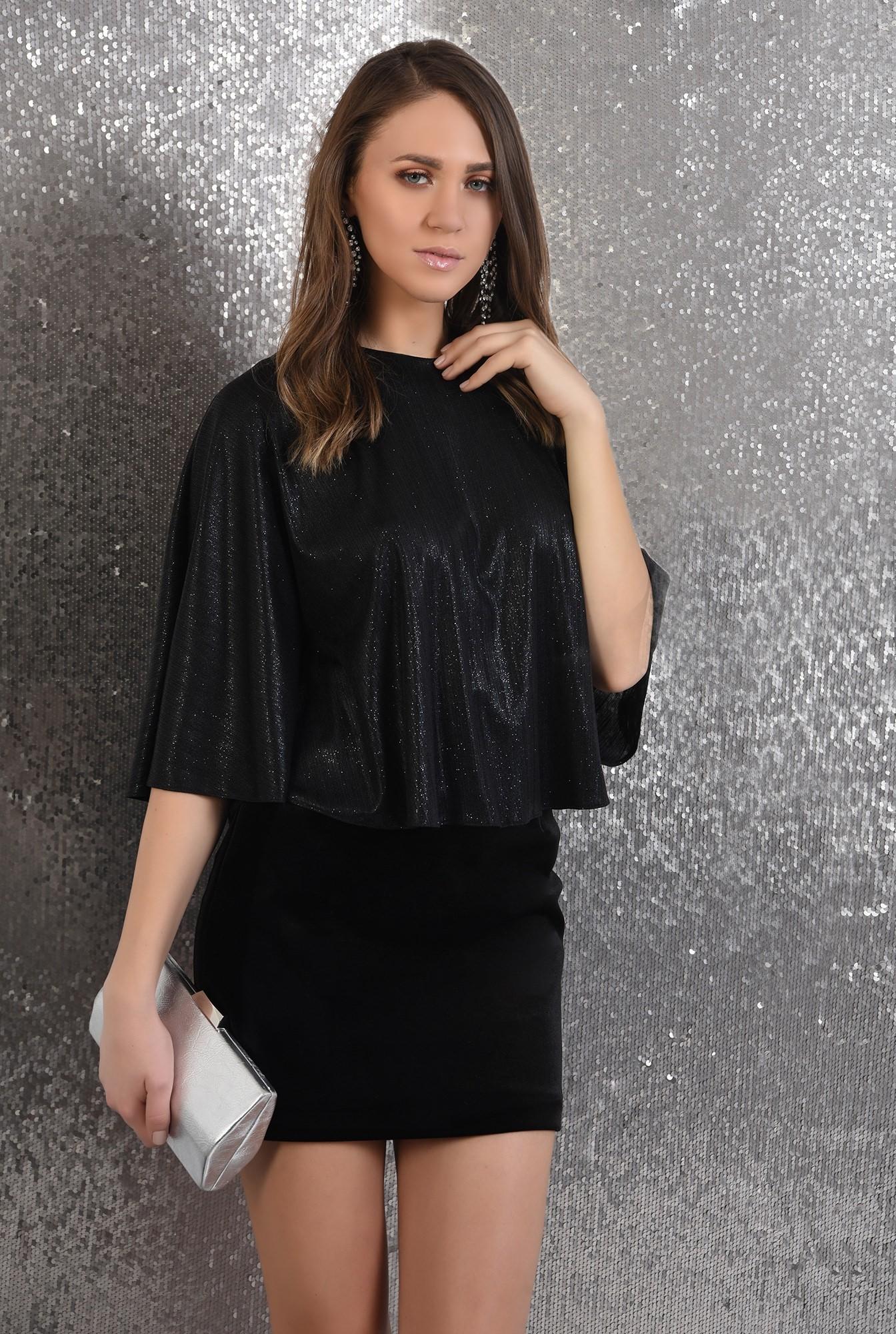 0 -  bluza cu sclipici, eleganta, de seara, neagra, croi evazat larg