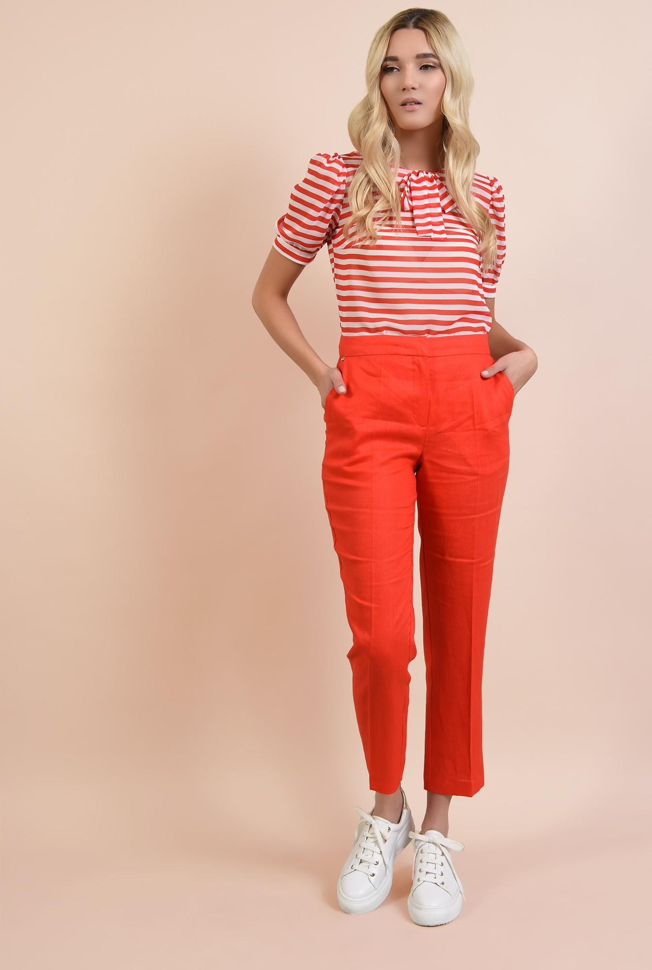 3 - bluza cu dungi, casual, alb, rosu, funda la gat, maneci scurte bufante