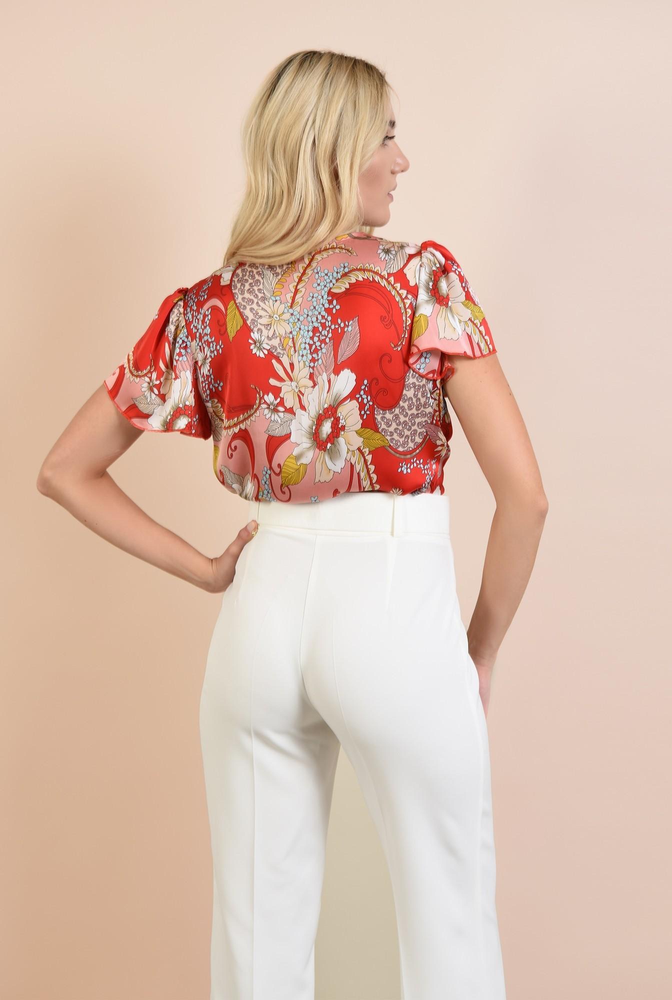 1 - bluza cu imprimeu, eleganta, cu maneci fluture, decolteu in V, Poema
