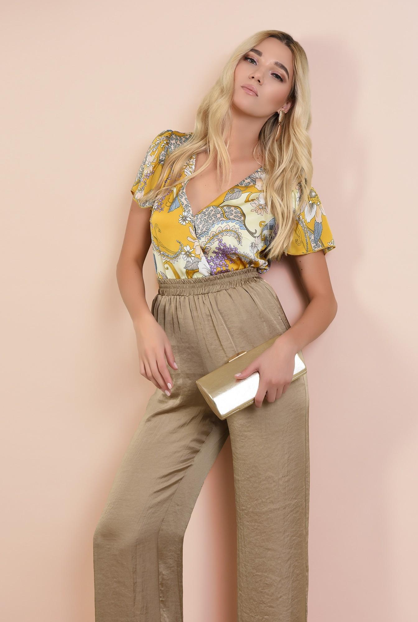0 - bluza eleganta, din satin, cu imprimeu floral, croi lejer parte peste parte