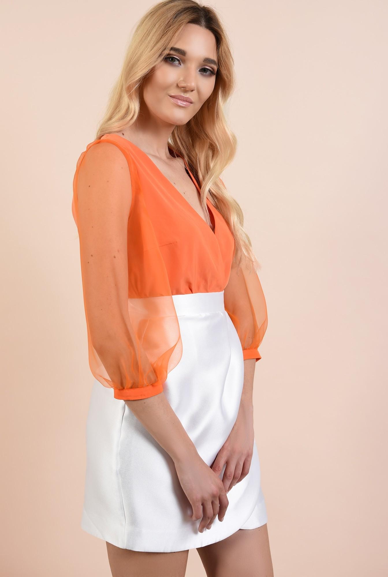 2 - bluza de ocazie, cu maneci bufante din organza, anchior petrecut, maneci transparente