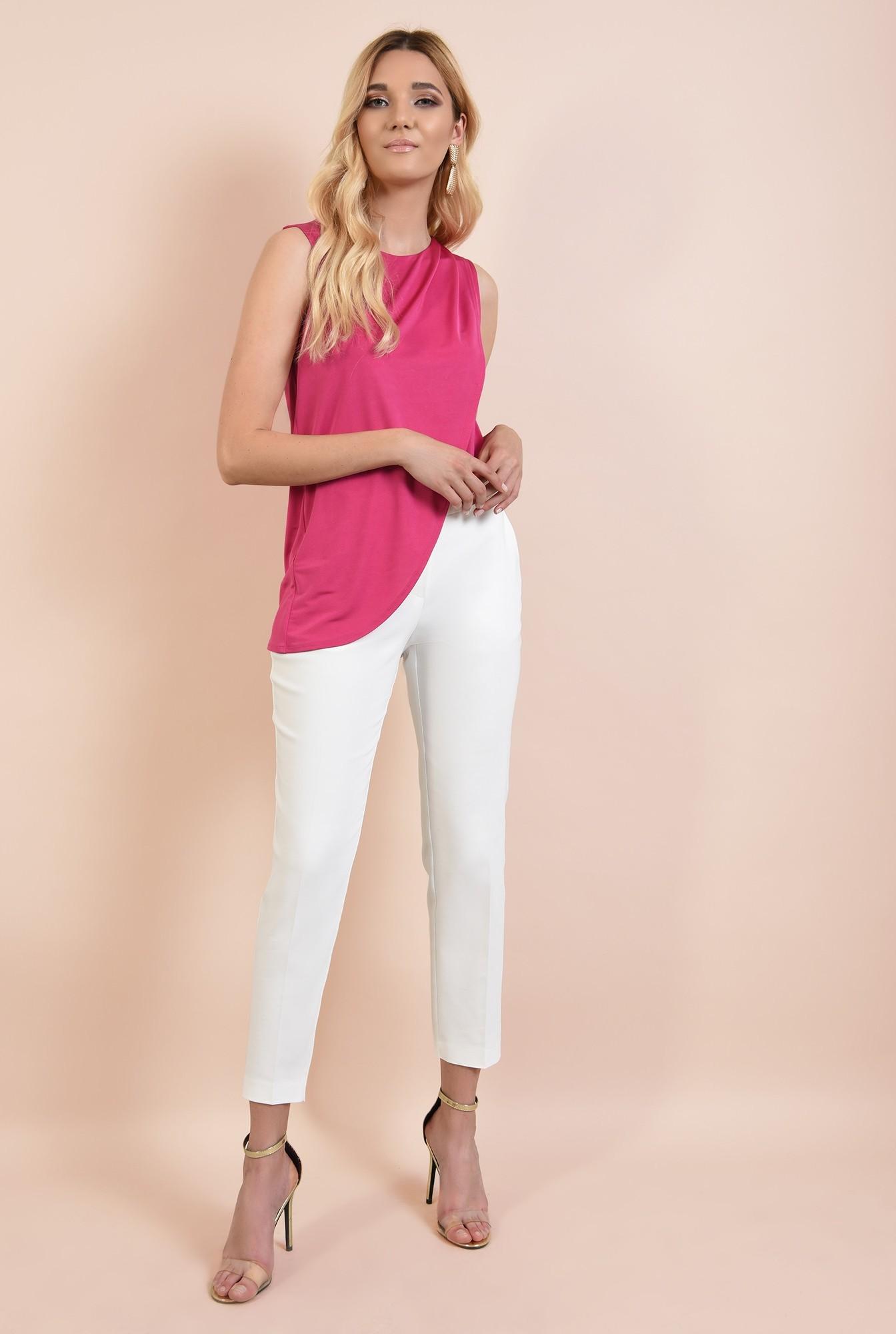 3 - bluza roz, cu fronseuri la umeri, croi parte peste parte, asimetrica