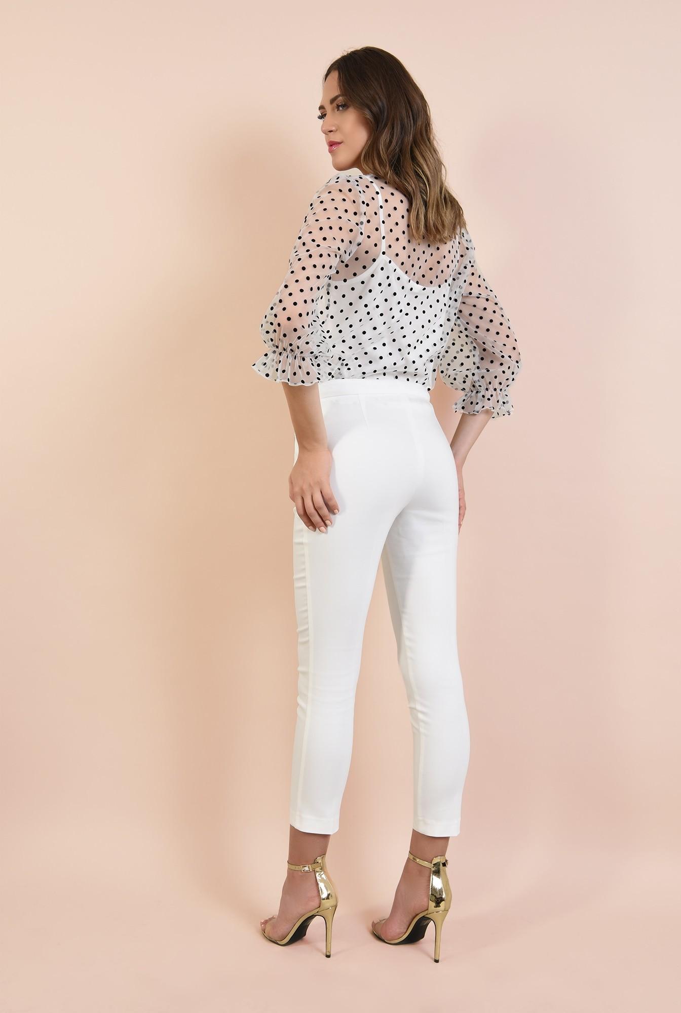 1 - bluza de seara, transparenta, cu print, decolteu rotund la baza gatului