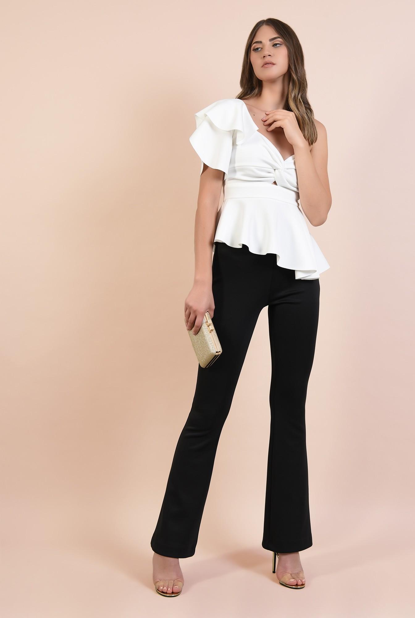 3 - bluza eleganta, Poema, top cu peplum asimetric, maneca lalea, decupaj
