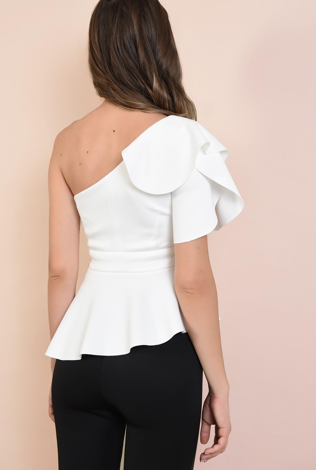 1 - bluza eleganta, Poema, top cu peplum asimetric, maneca lalea, decupaj