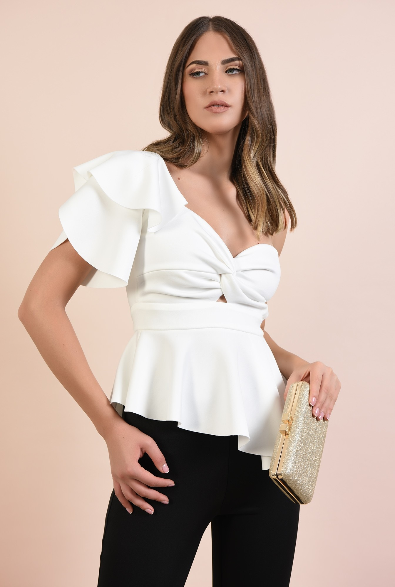 2 - bluza eleganta, Poema, top cu peplum asimetric, maneca lalea, decupaj