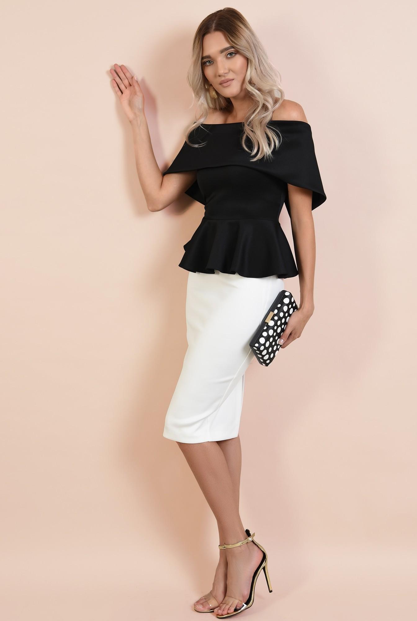 3 - bluza eleganta, neagra, umeri goi, peplum, Poema, croi cambrat