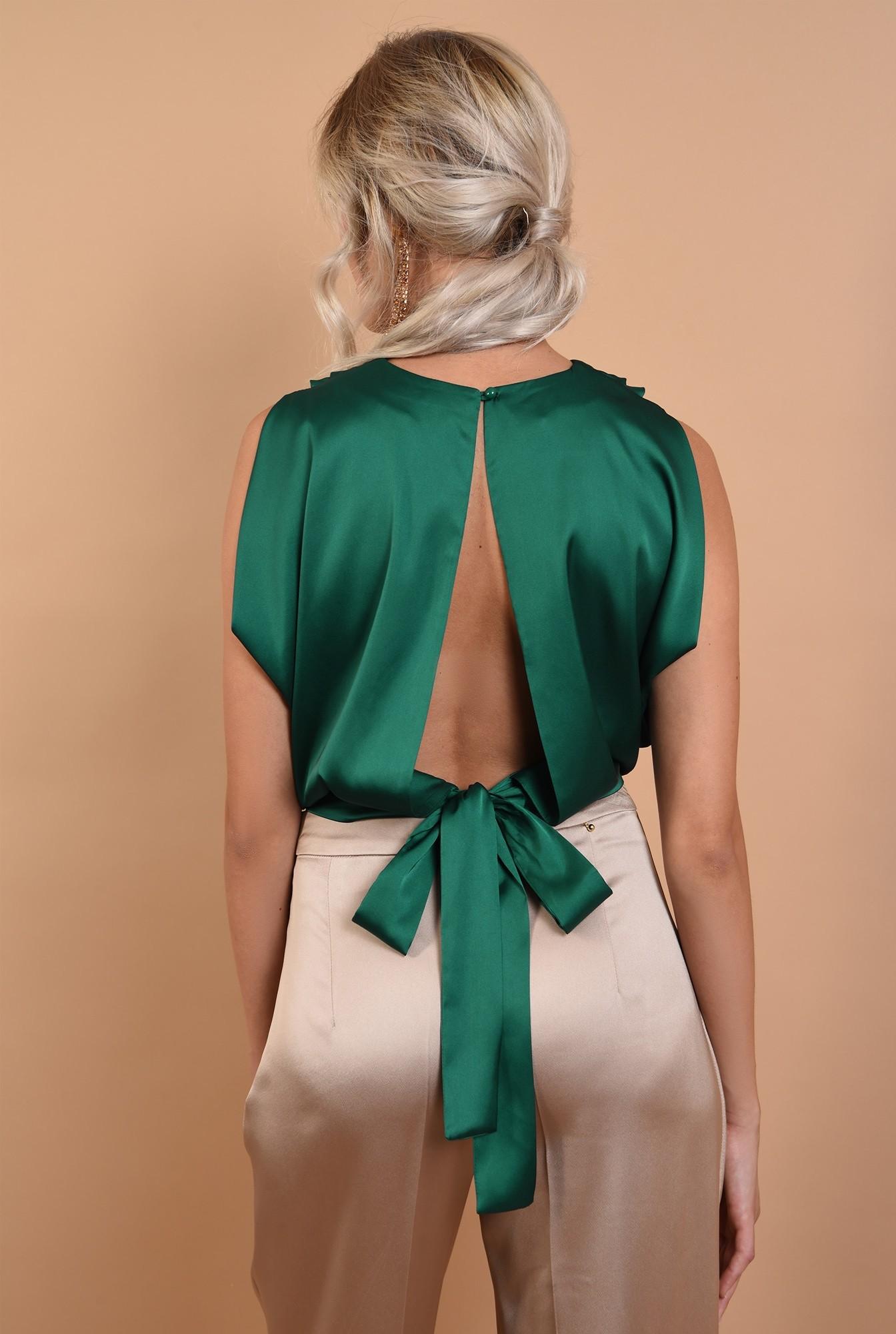 1 - bluza de seara, cu umeri fronsati, cu funda la spate, Poema, verde