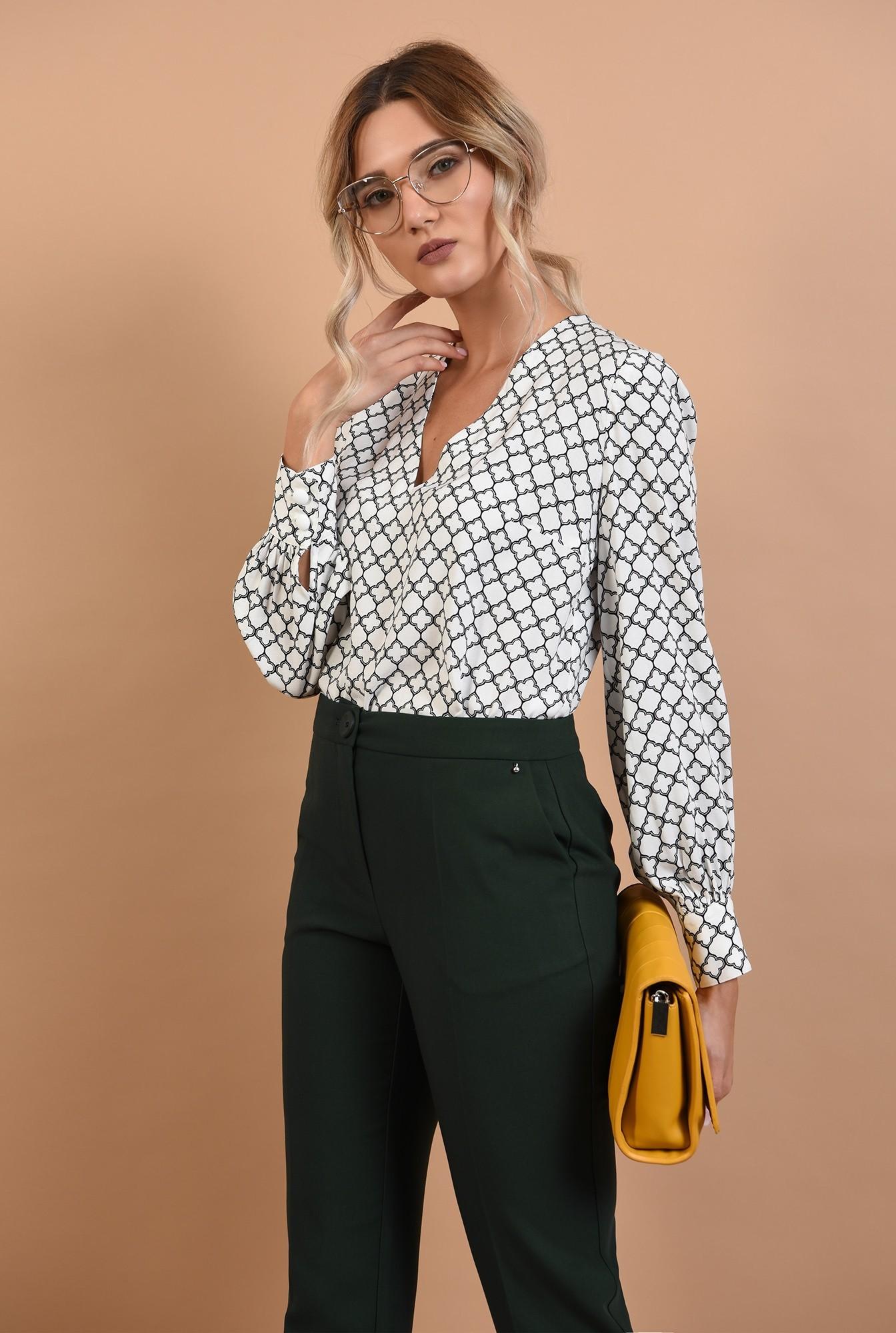 0 - bluza casual, cu anchior, imprimeu alb-negru, Poema