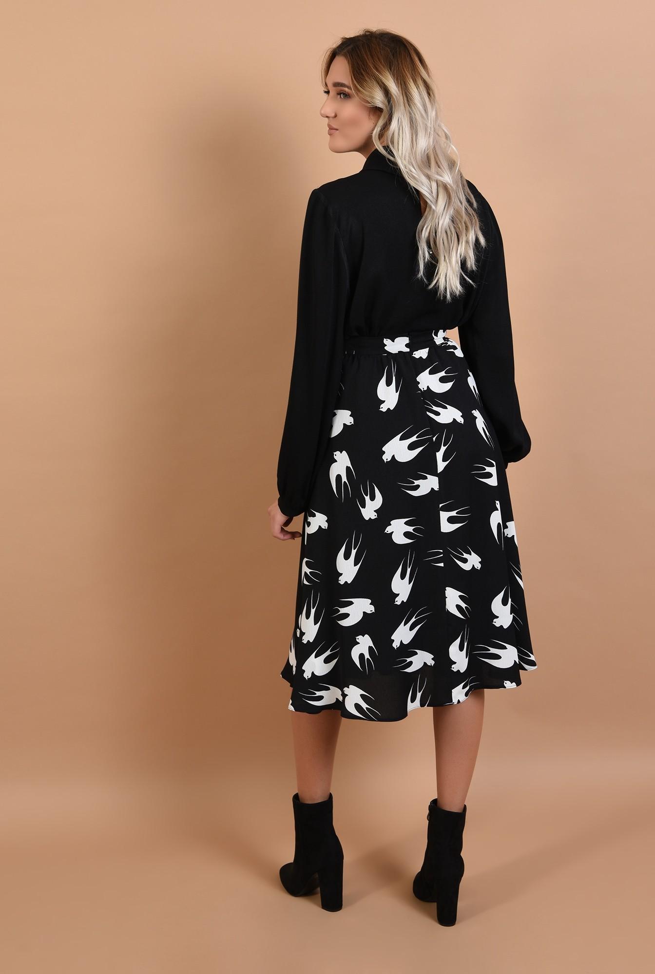 1 - bluza neagra, casual, neagra, cu funda alba, maneci bufante