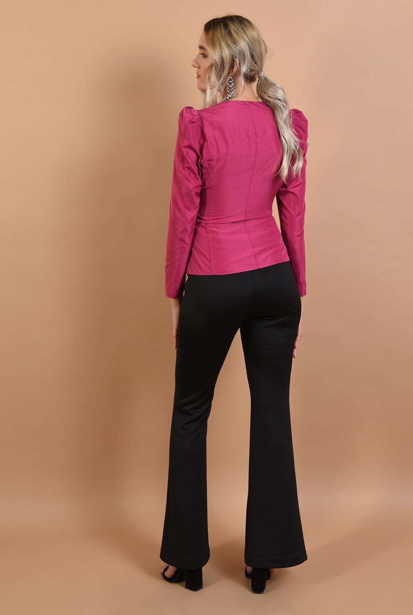 1 - 360 - bluza ciclamen, de ocazie, cambrata, cu funda la talie
