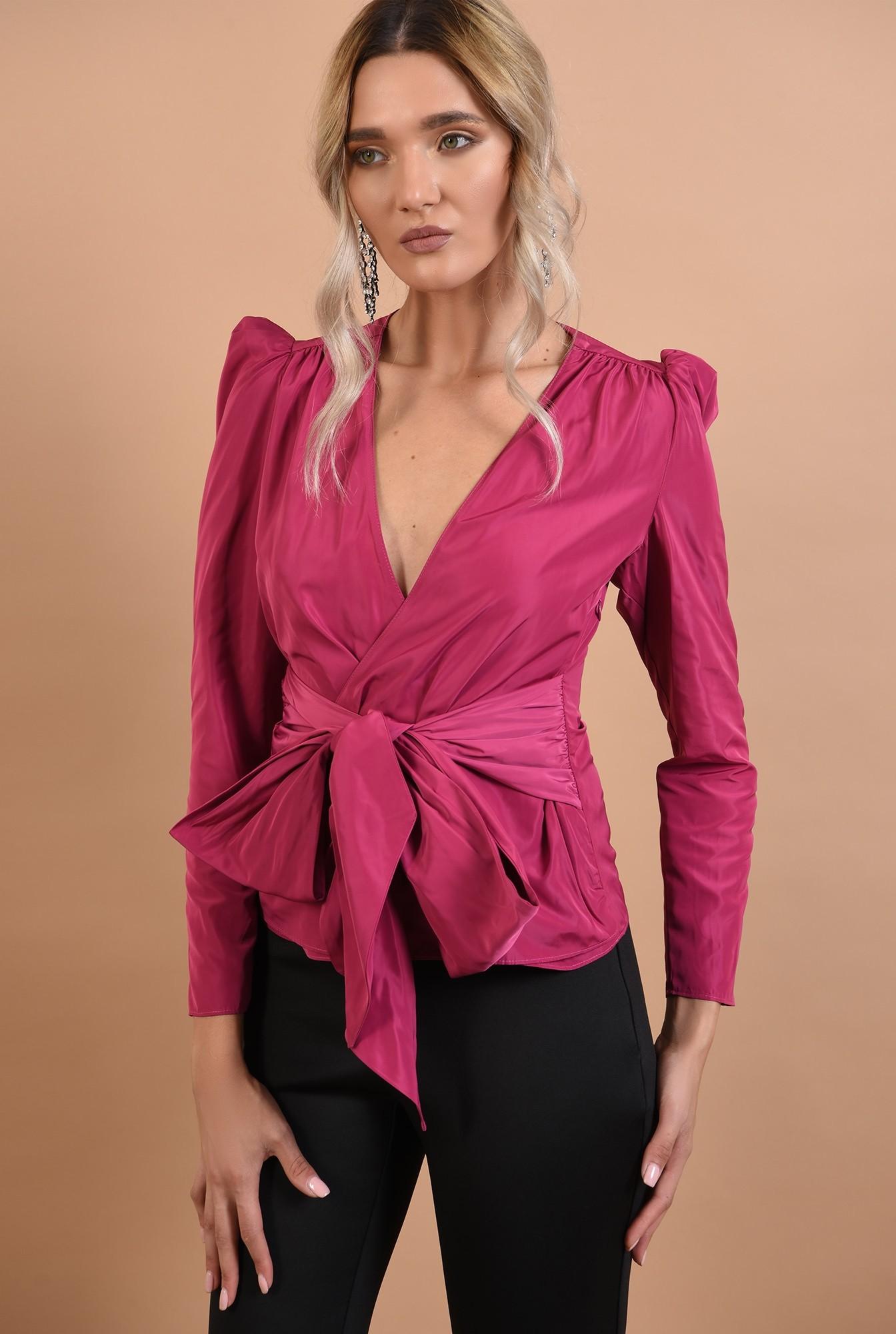 3 - 360 - bluza ciclamen, de ocazie, cambrata, cu funda la talie