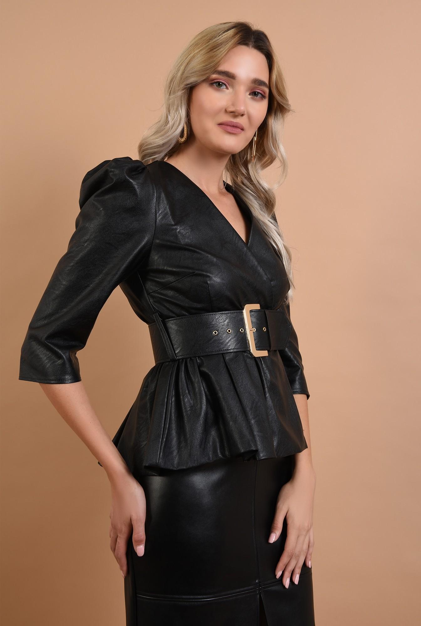 2 - 360 - bluza eleganta, din piele, maneci midi, curea lata