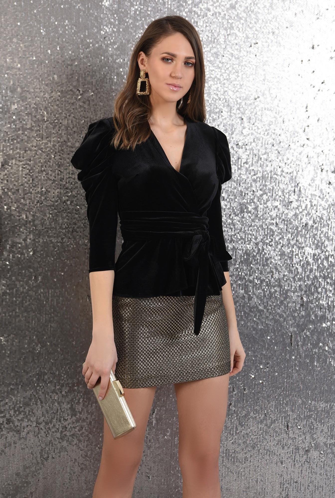 0 -  360 - bluza eleganta, cu anchior, maneci cu cret la umar, funda la talie
