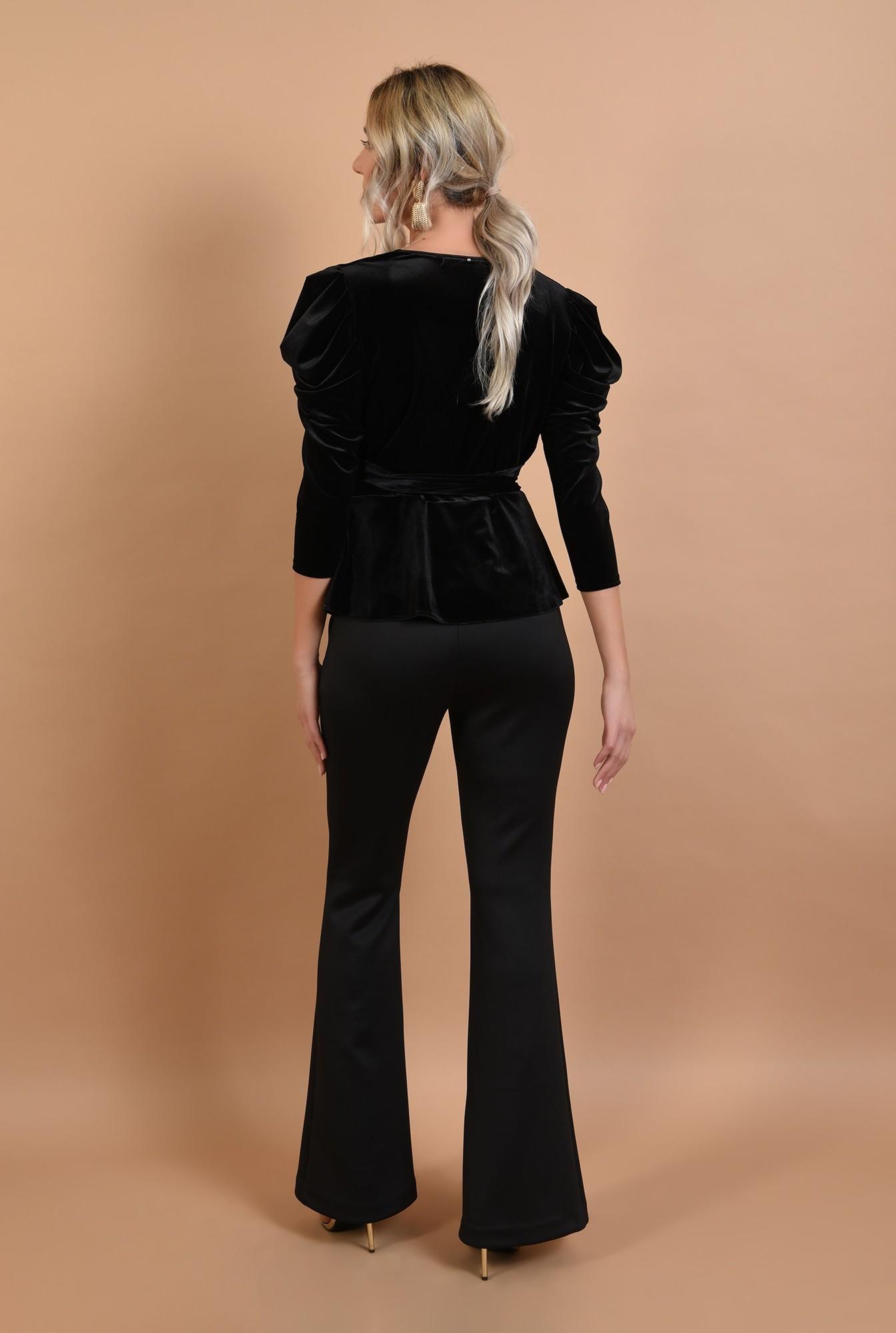 1 - bluza eleganta, cu maneci lungi, cordon la talie, decolteu anchior
