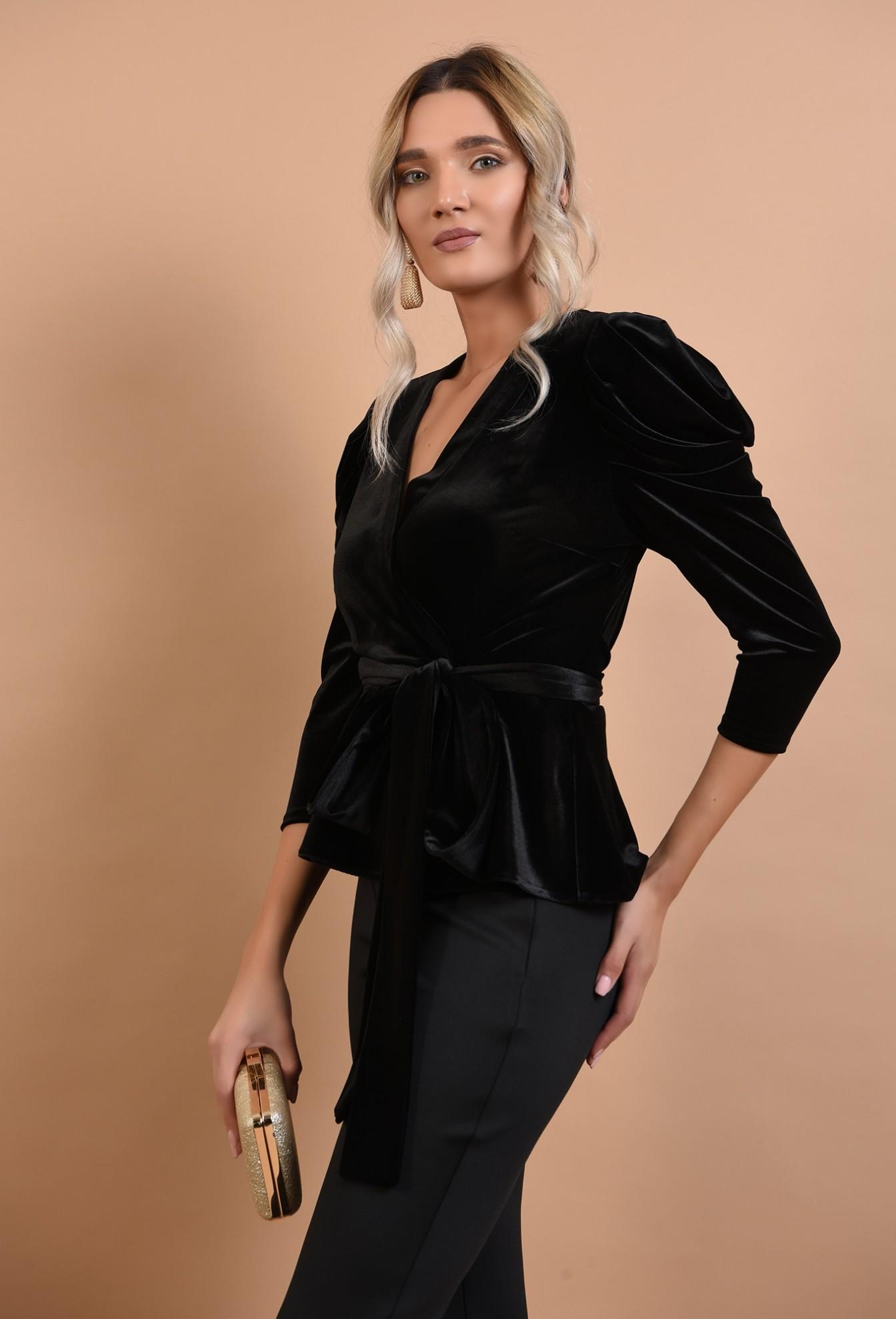 0 - bluza eleganta, cu maneci lungi, cordon la talie, decolteu anchior