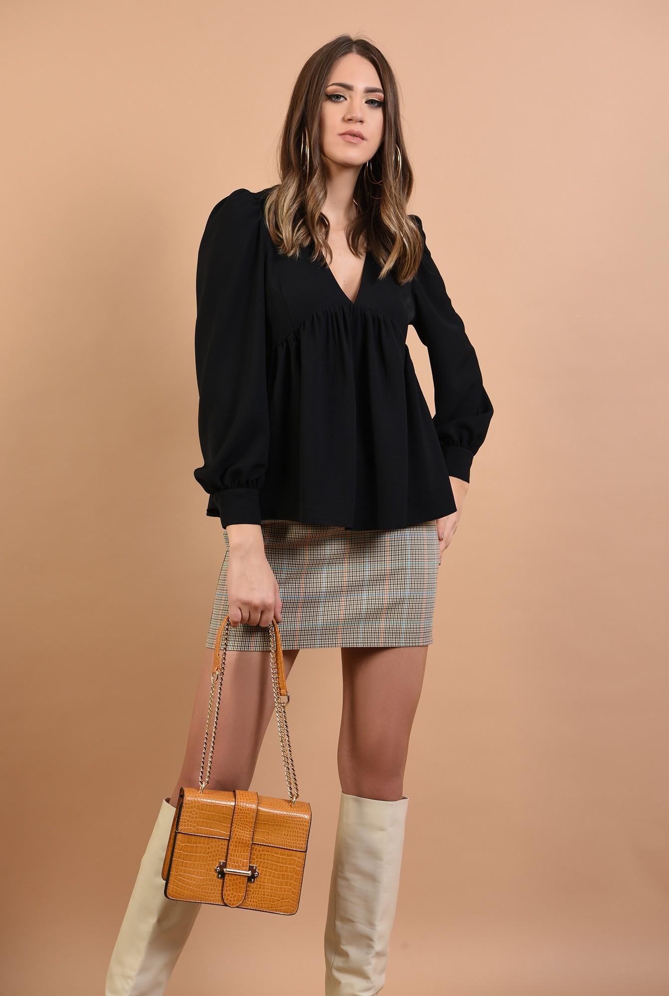 2 - bluza casual, cu peplum, neagra, anchior, Poema