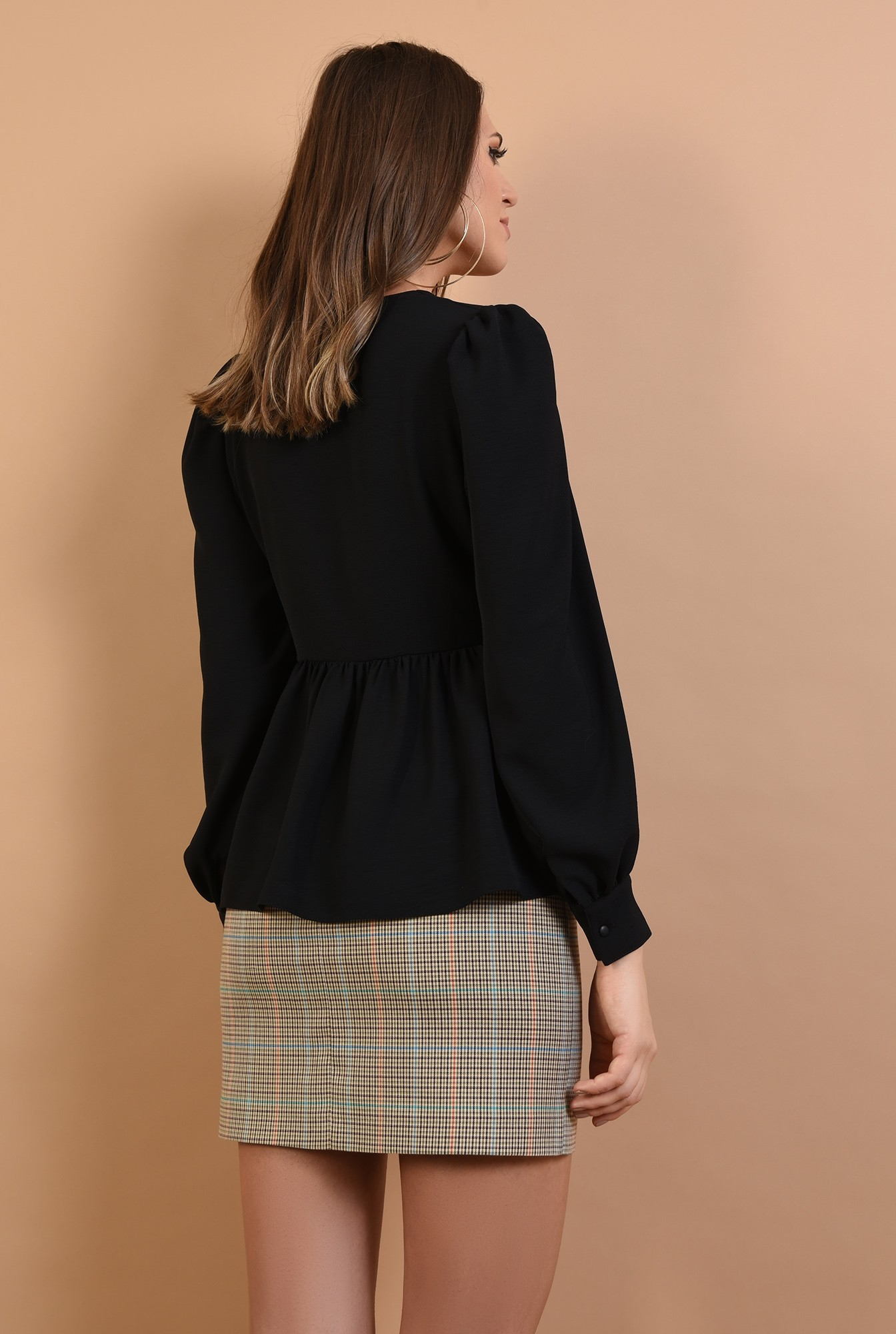 1 - bluza casual, cu peplum, neagra, anchior, Poema