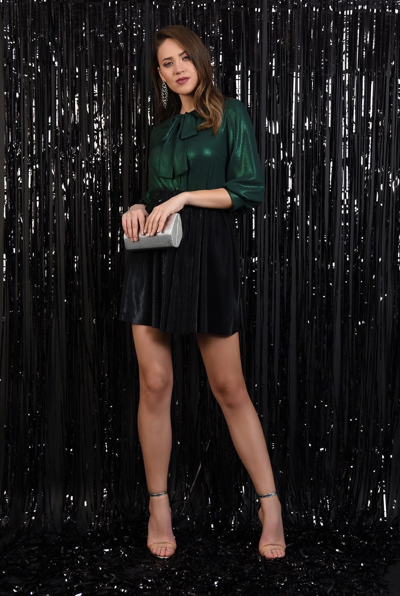 3 - fusta eleganta, plisata, lurex, neagra, talie elastica