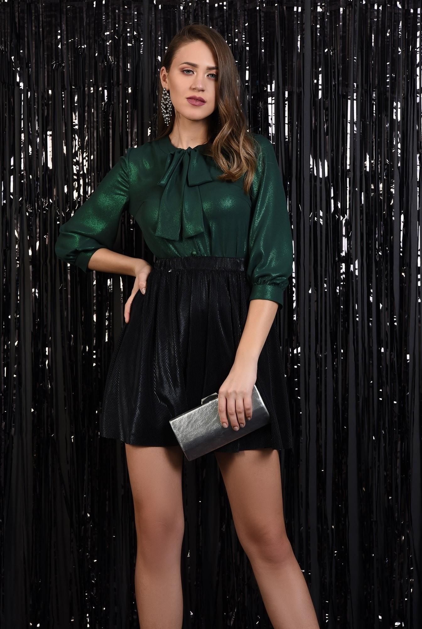 0 - fusta eleganta, plisata, lurex, neagra, talie elastica