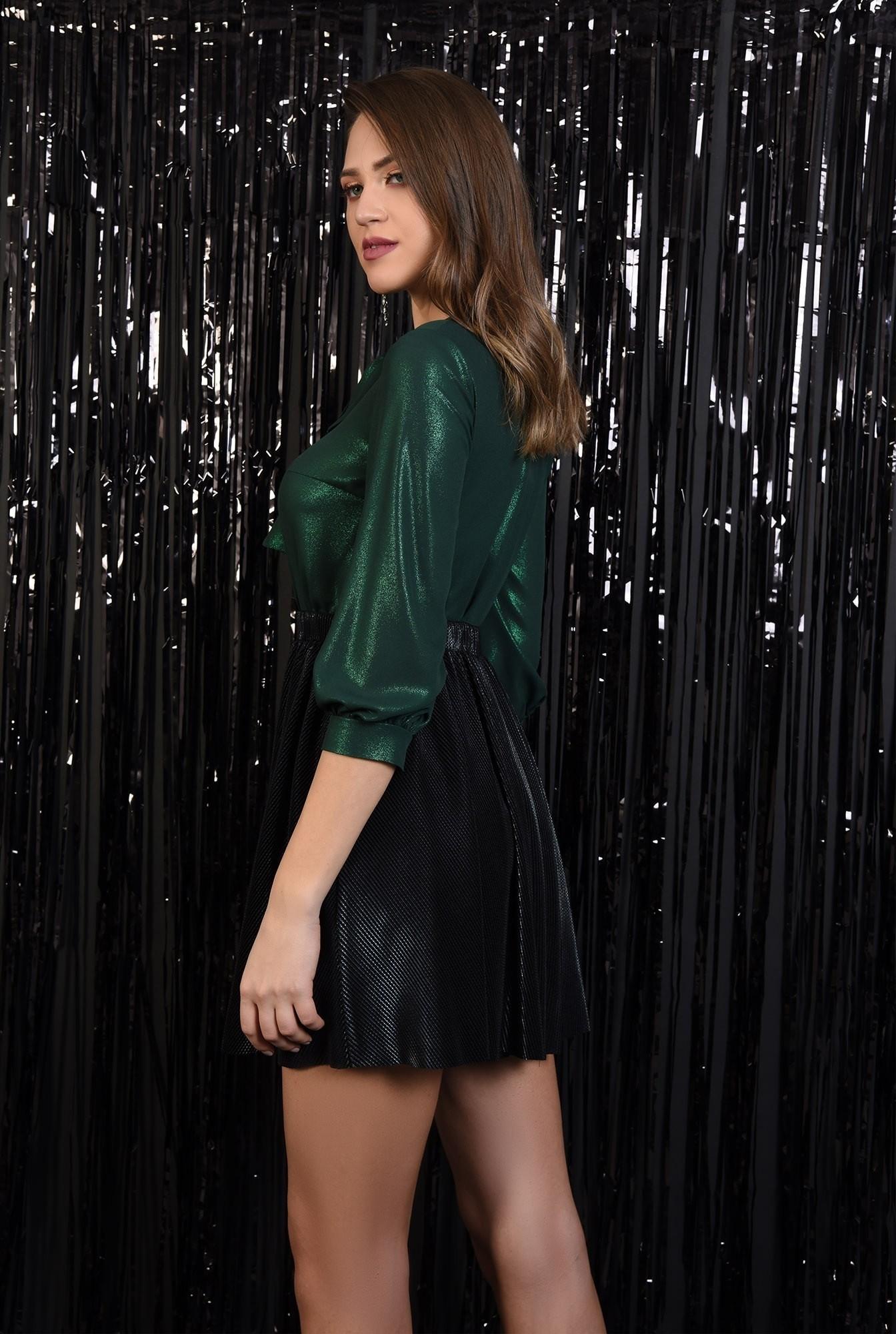 1 - fusta eleganta, plisata, lurex, neagra, talie elastica