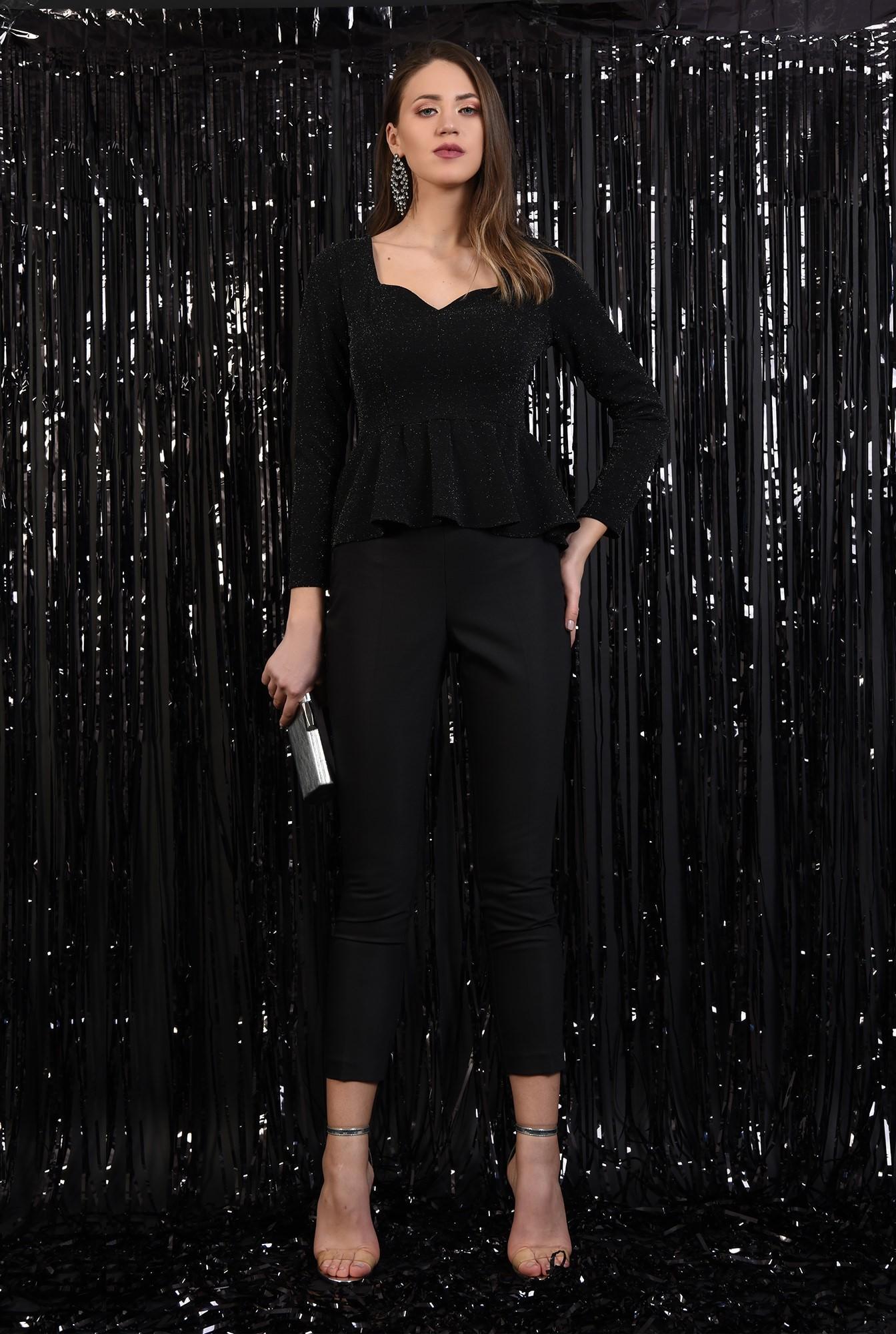 3 - bluza neagra, cu peplum, inima, sclipici, Poema