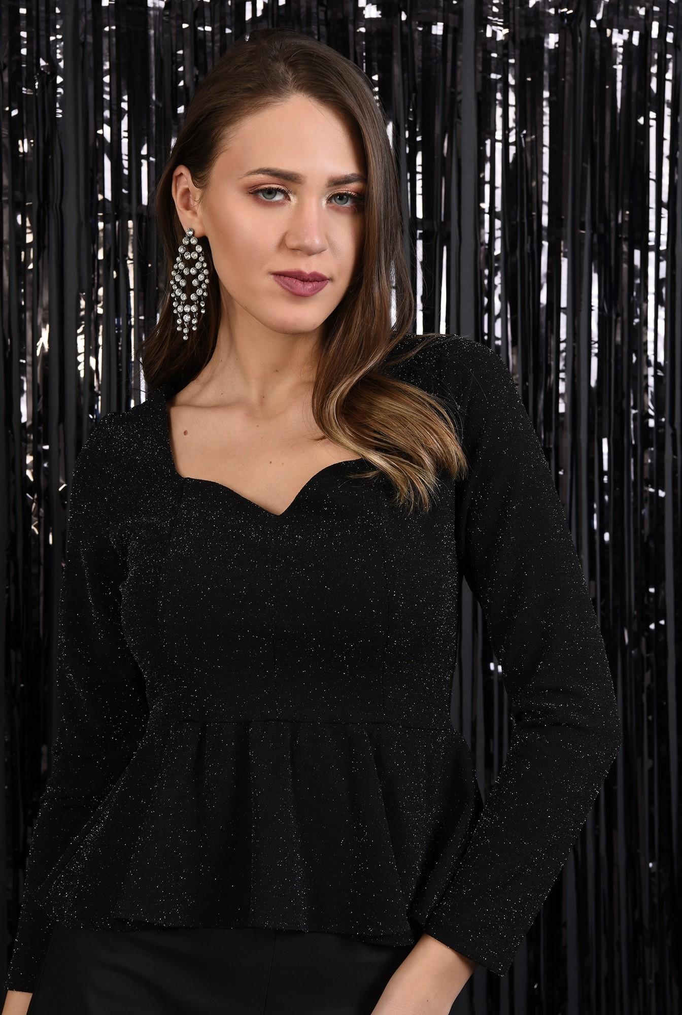 2 - bluza neagra, cu peplum, inima, sclipici, Poema