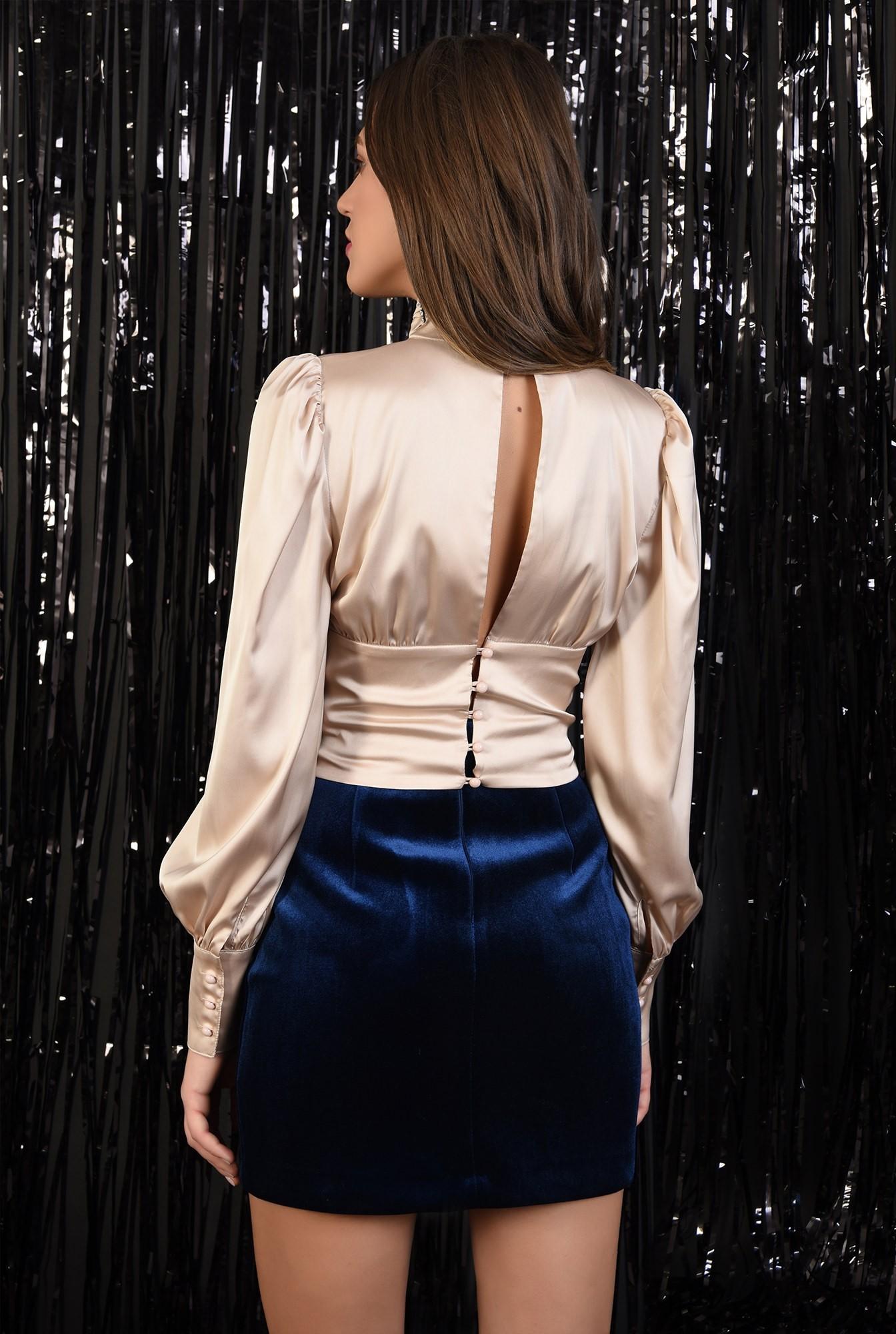 1 - bluza eleganta, din satin, brau fronsat, Poema, maneci bufante