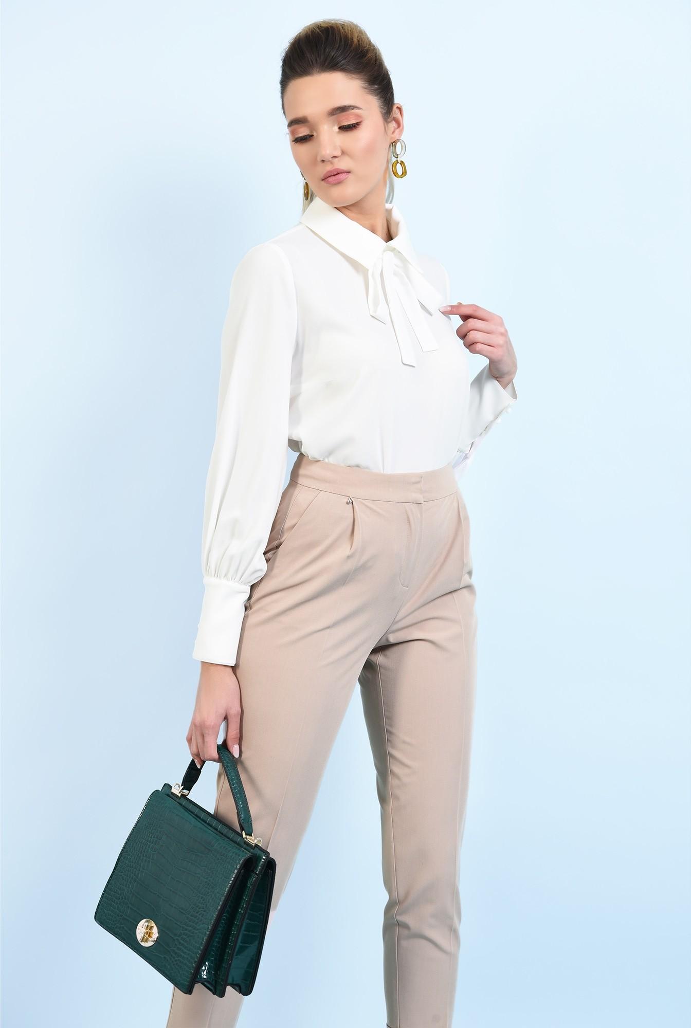 0 - bluza office, alba, cu funda, maneci lungi, guler ascutit
