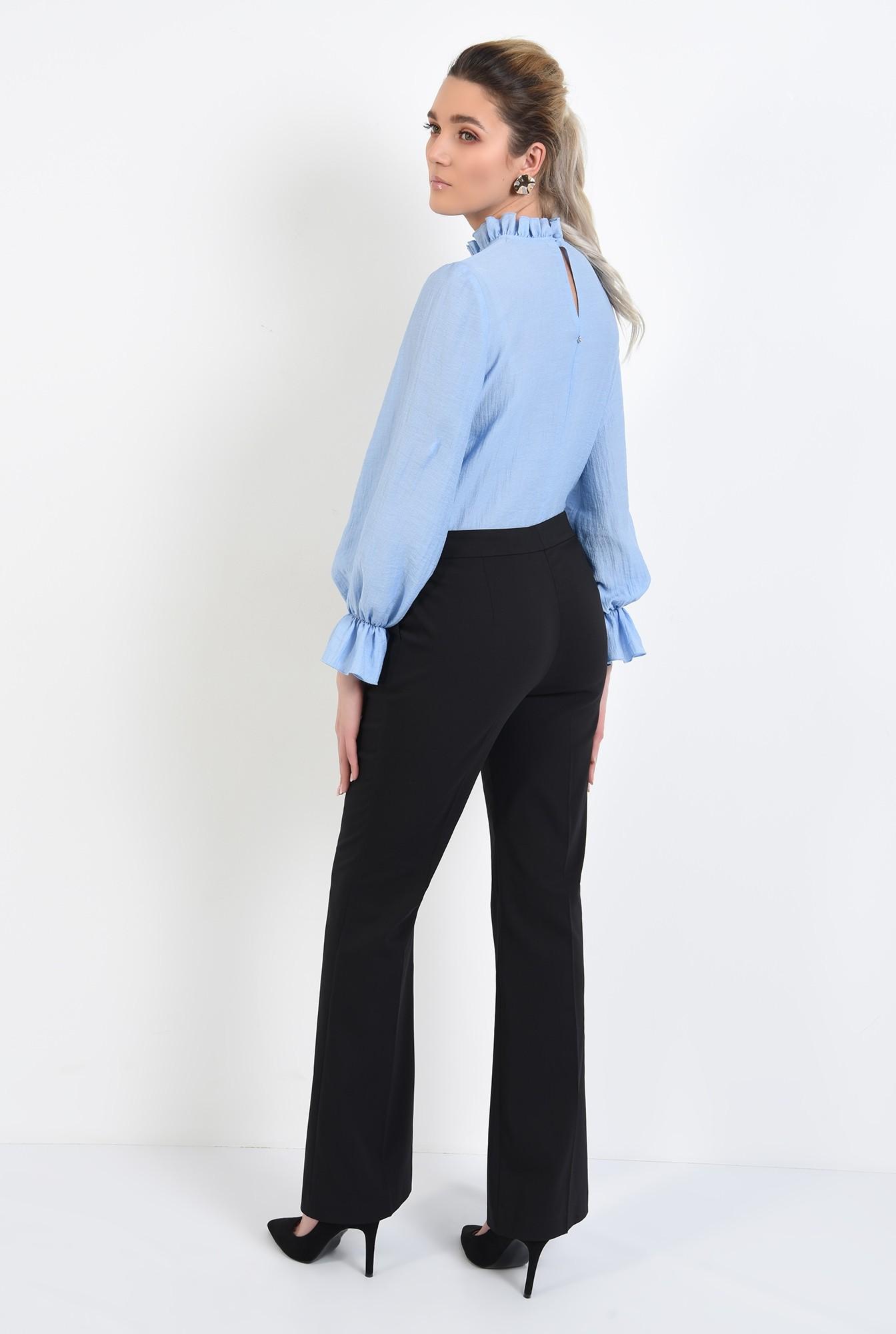 1 - bluza office, bleu, cu funda, mansete volan, guler incretit