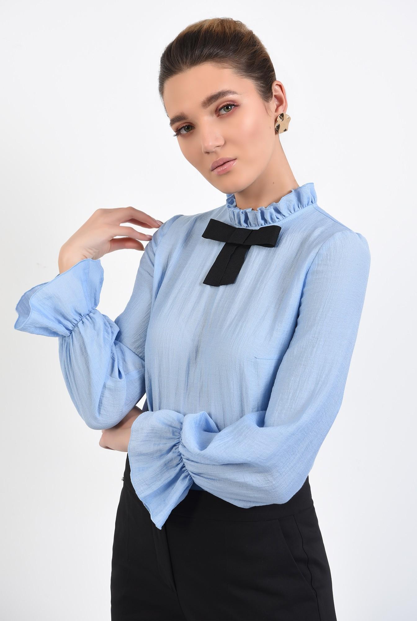 2 - bluza office, bleu, cu funda, mansete volan, guler incretit