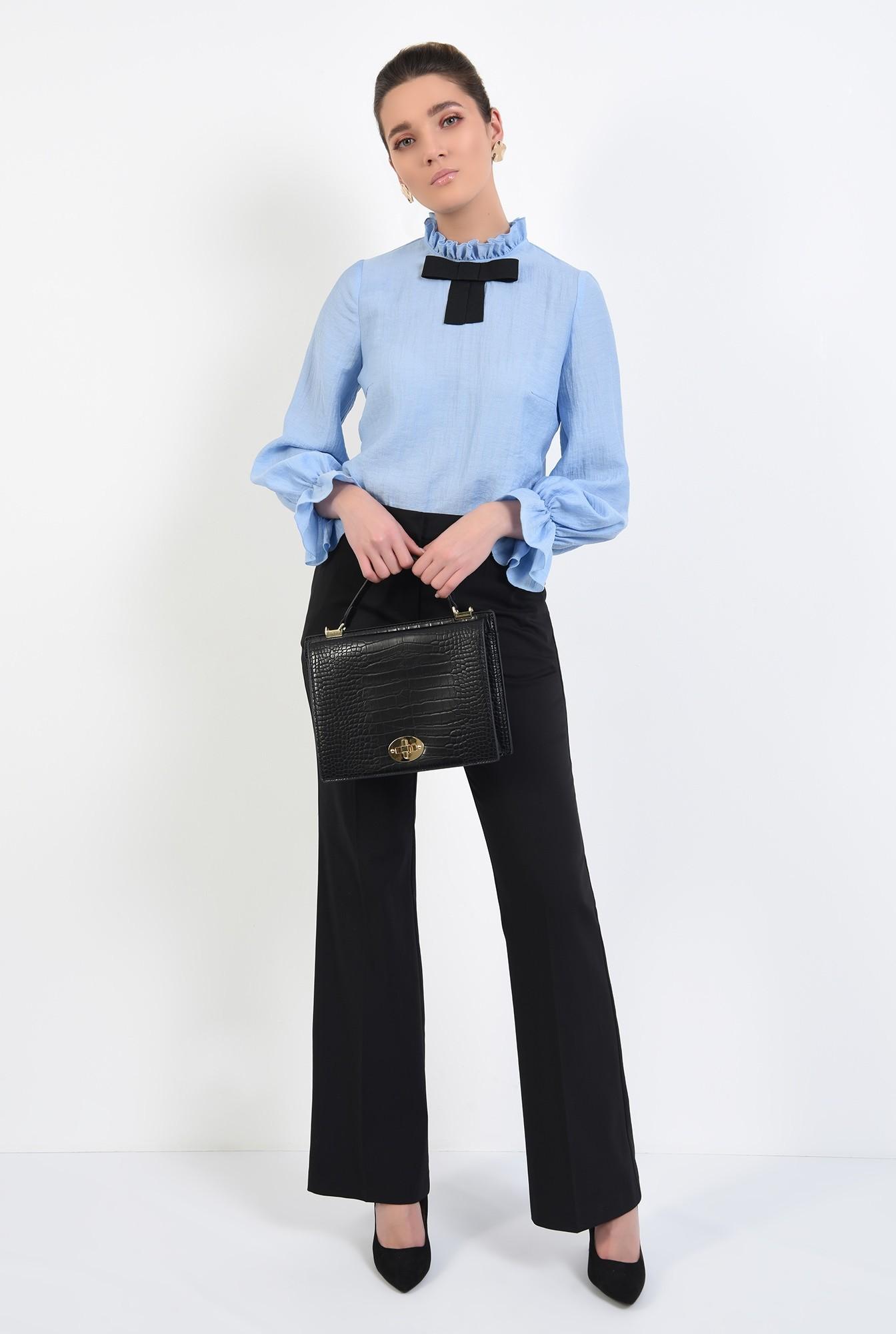 3 - bluza office, bleu, cu funda, mansete volan, guler incretit