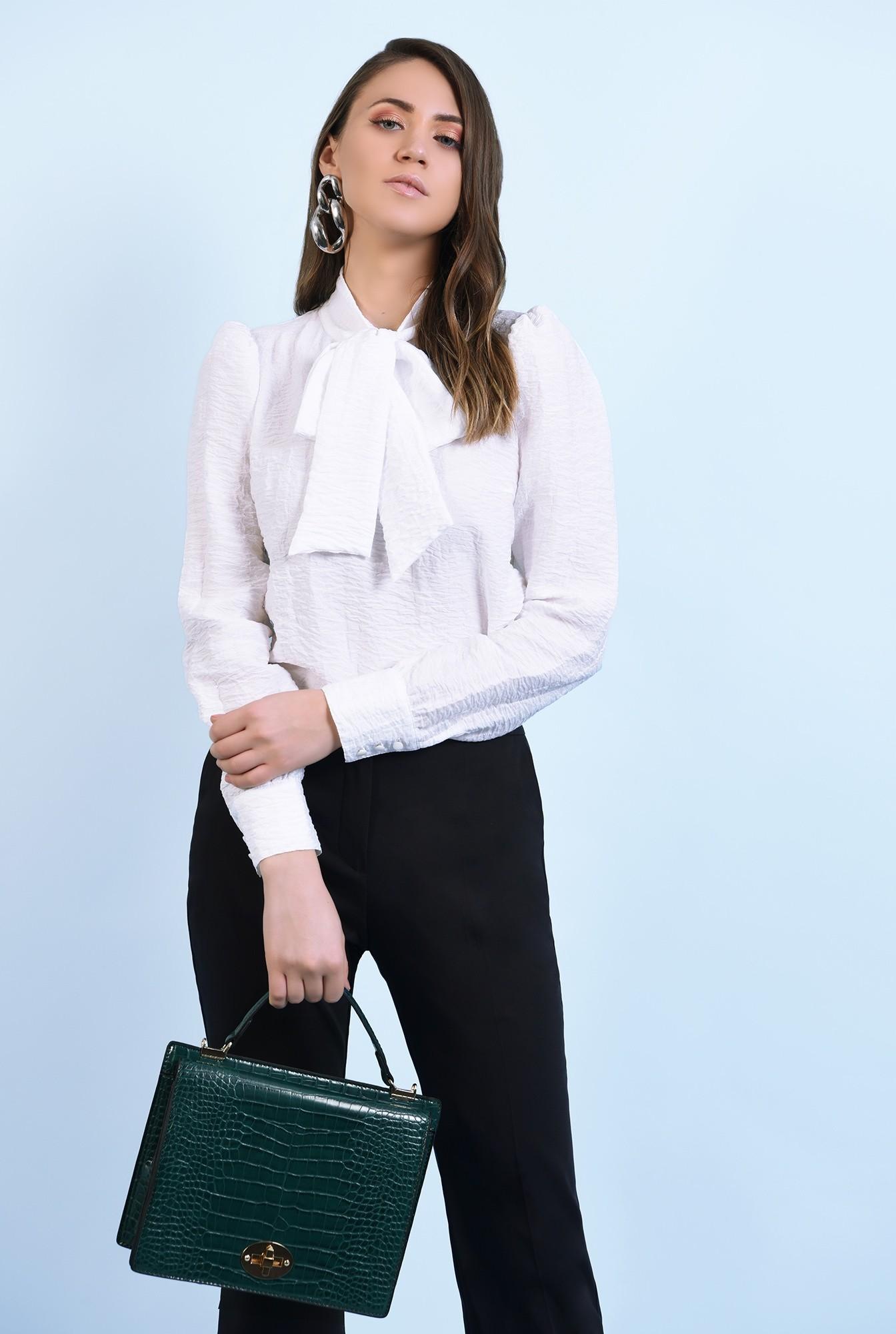 0 - bluza casual, cu funda, mansete cu nasturi, croi drept