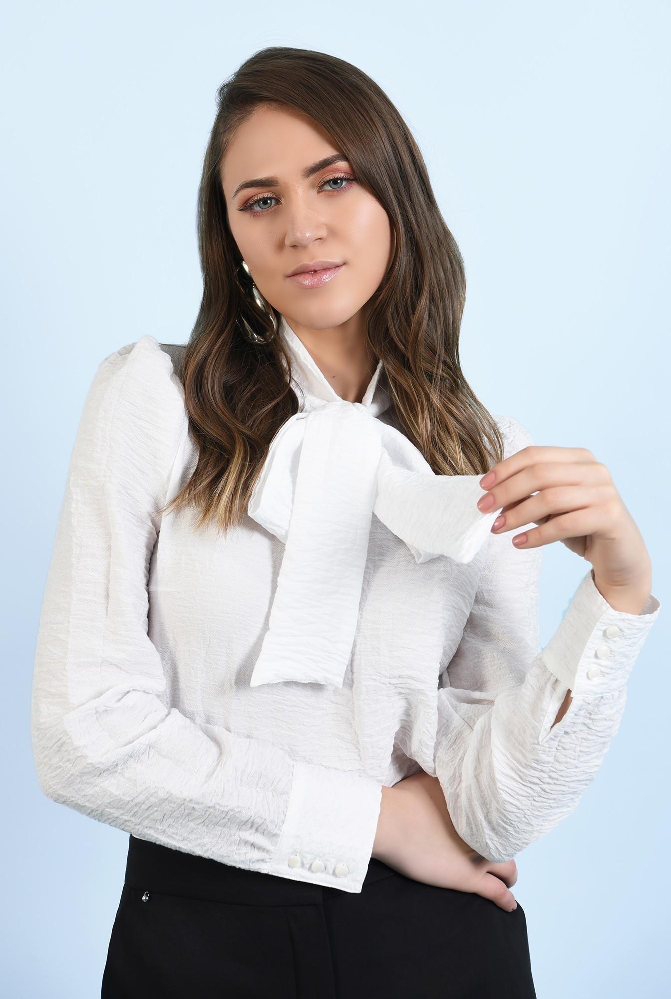 2 - bluza casual, cu funda, mansete cu nasturi, croi drept