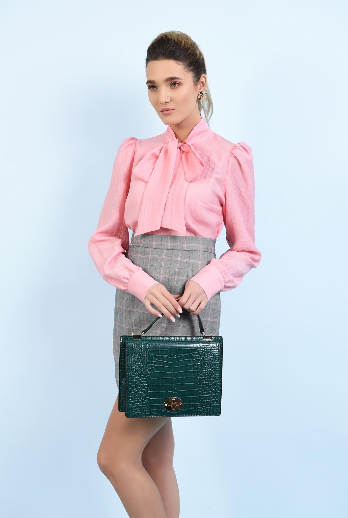 0 - bluza casual, roz, cu funda, maneci lungi, Poema