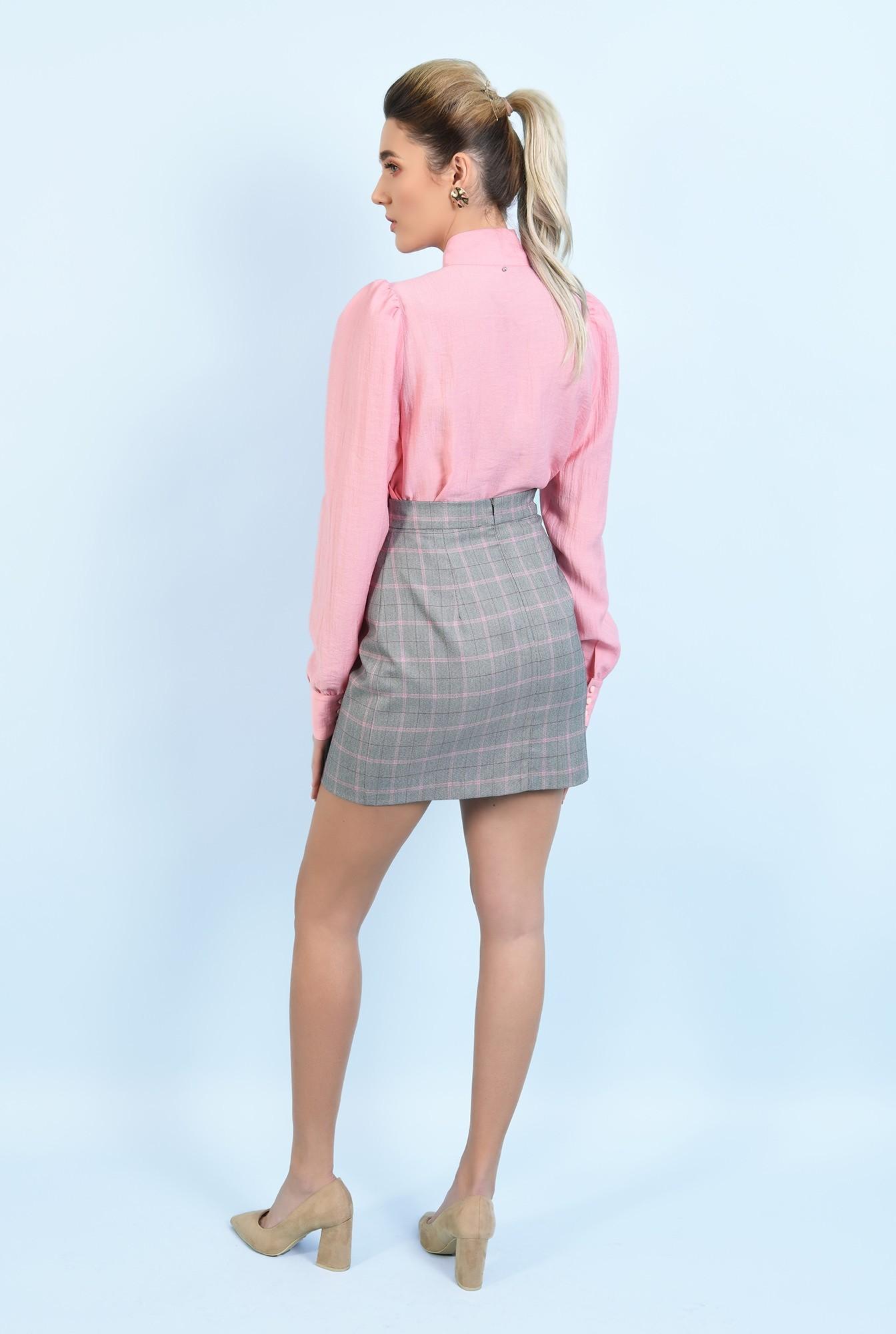 1 - bluza casual, roz, cu funda, maneci lungi, Poema