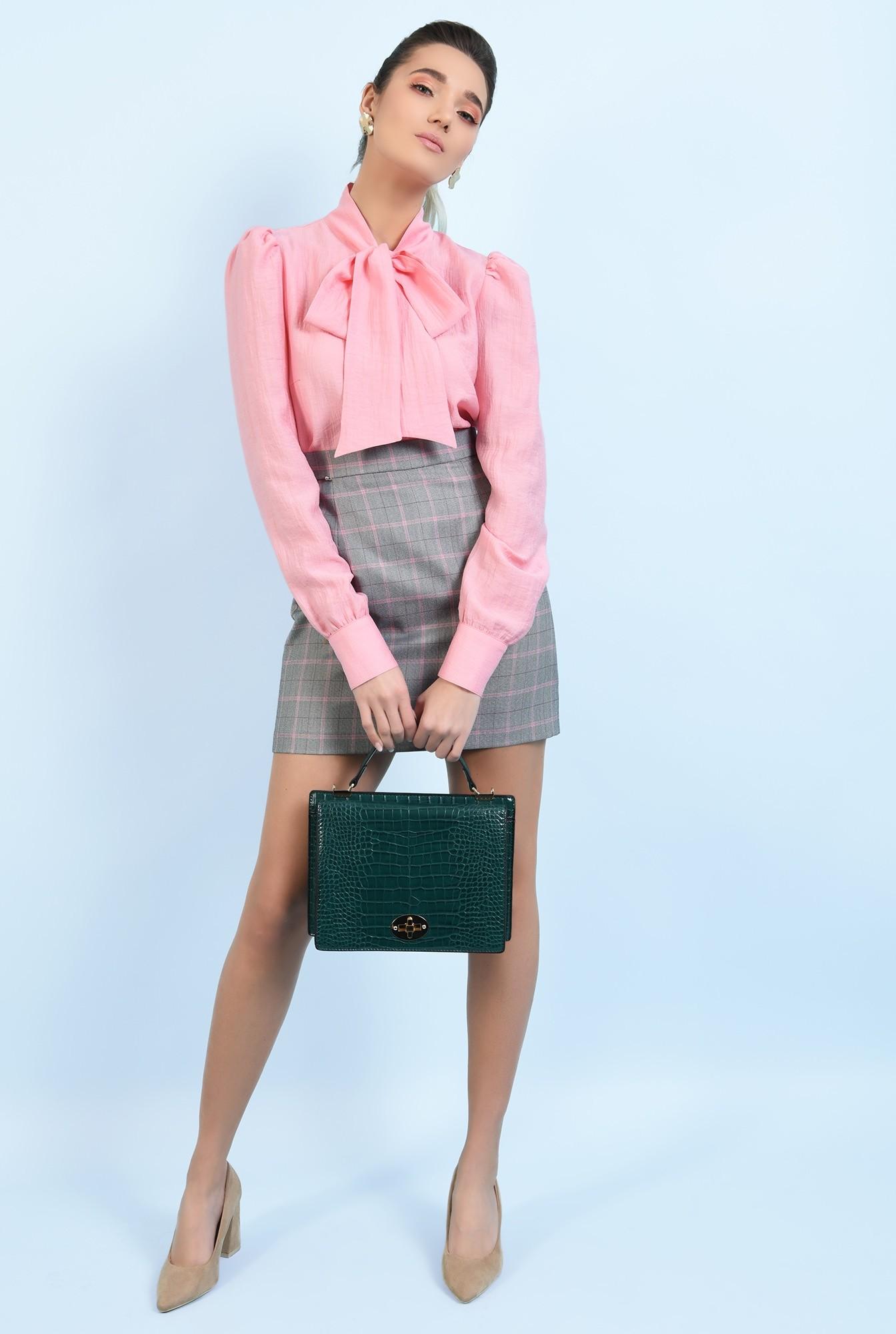3 - bluza casual, roz, cu funda, maneci lungi, Poema
