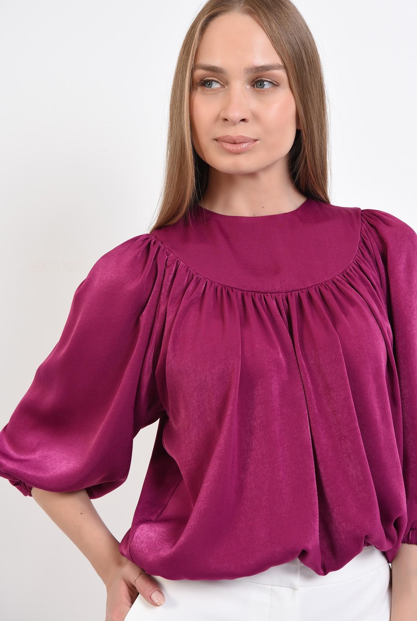 2 - 360 - bluza eleganta, din satin, cu platca, maneci bufante