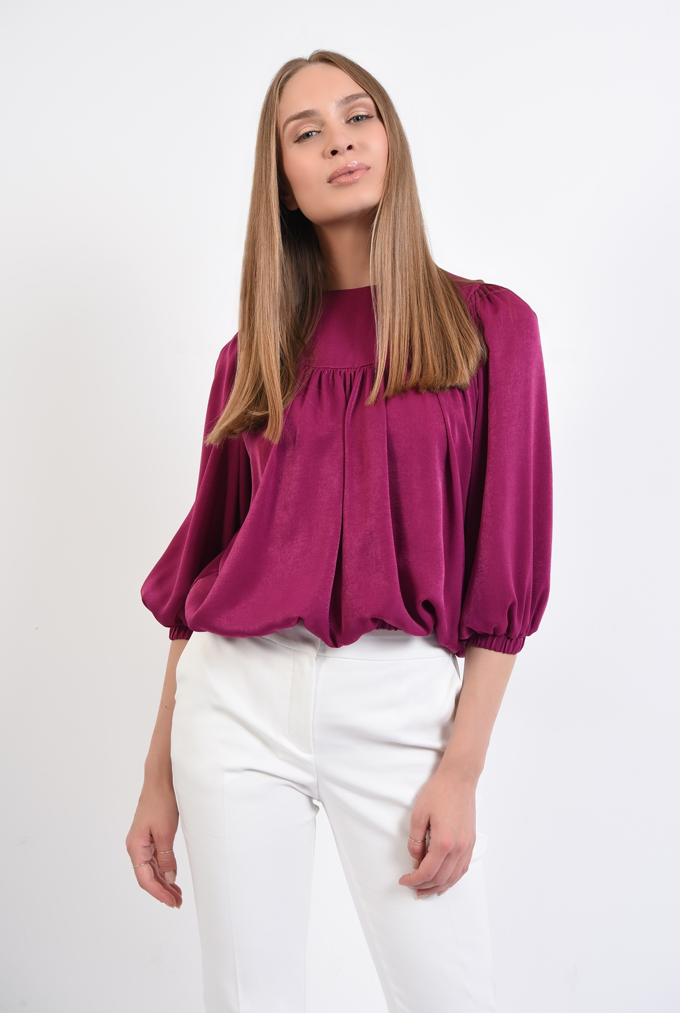 0 - 360 - bluza eleganta, din satin, cu platca, maneci bufante