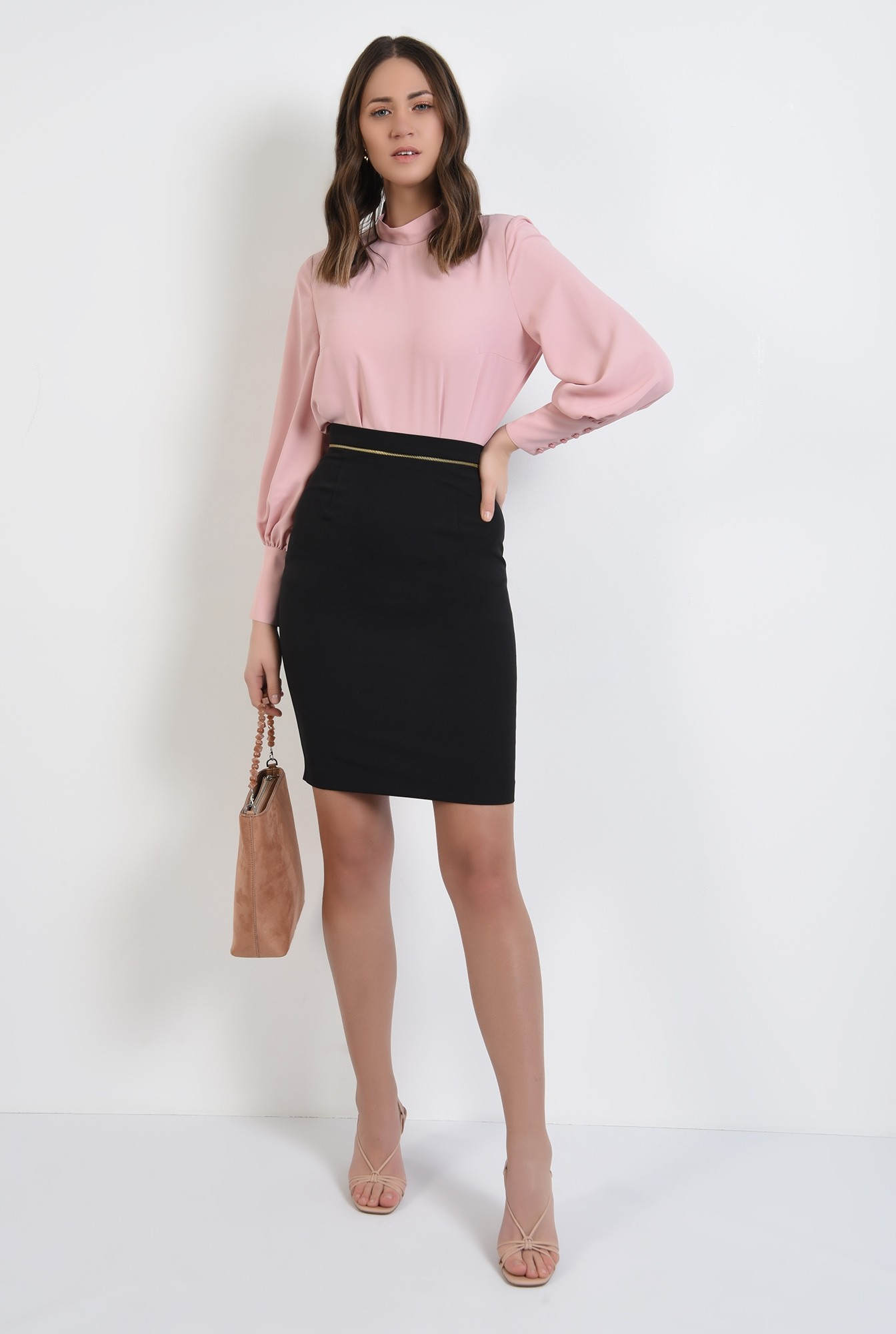 3 -  bluza office, roz, guler perkins, maneci lungi, Poema