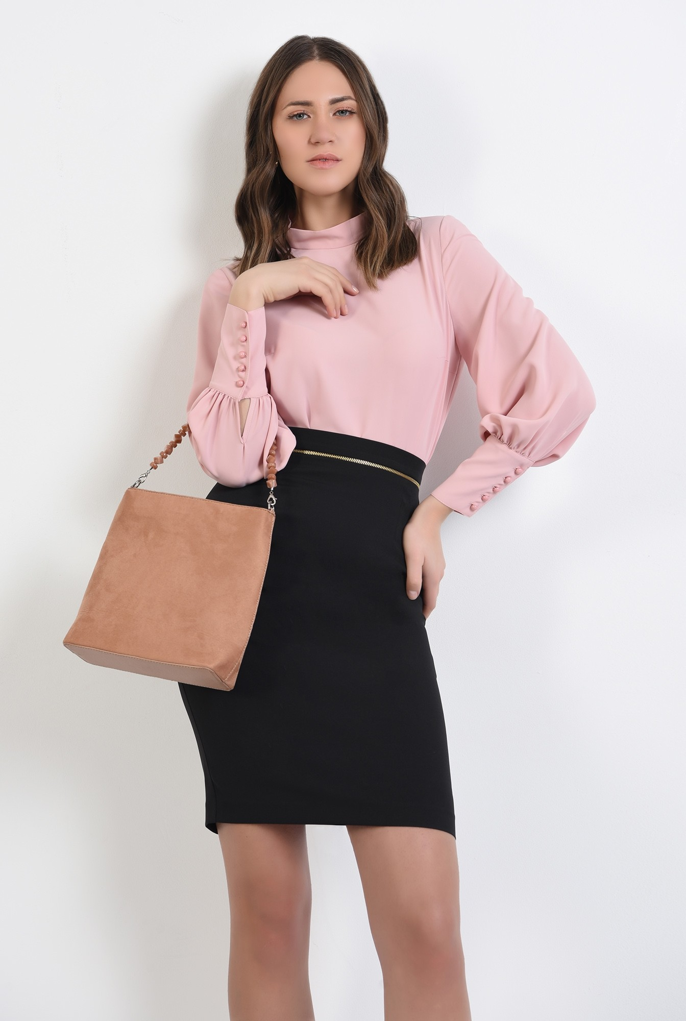 0 -  bluza office, roz, guler perkins, maneci lungi, Poema